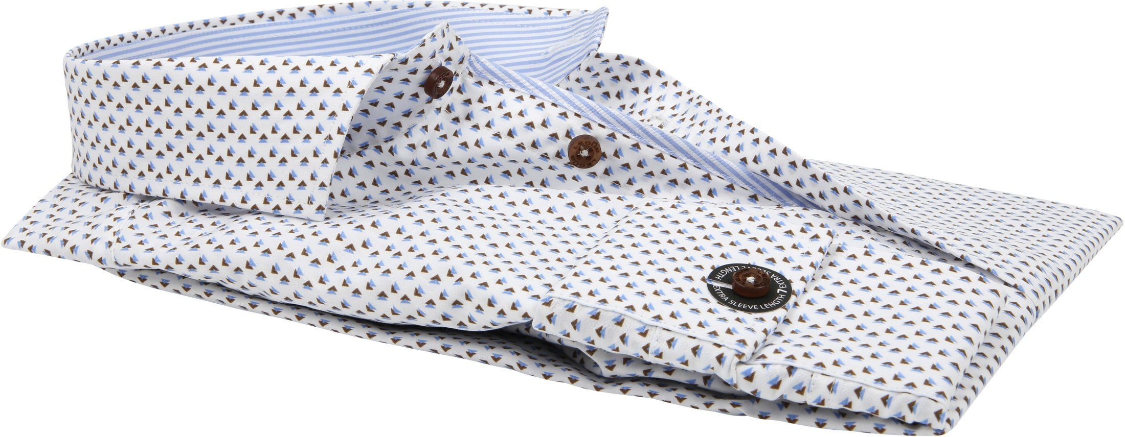 Ledub Overhemd Print Bruin Blauw SL7 foto 2