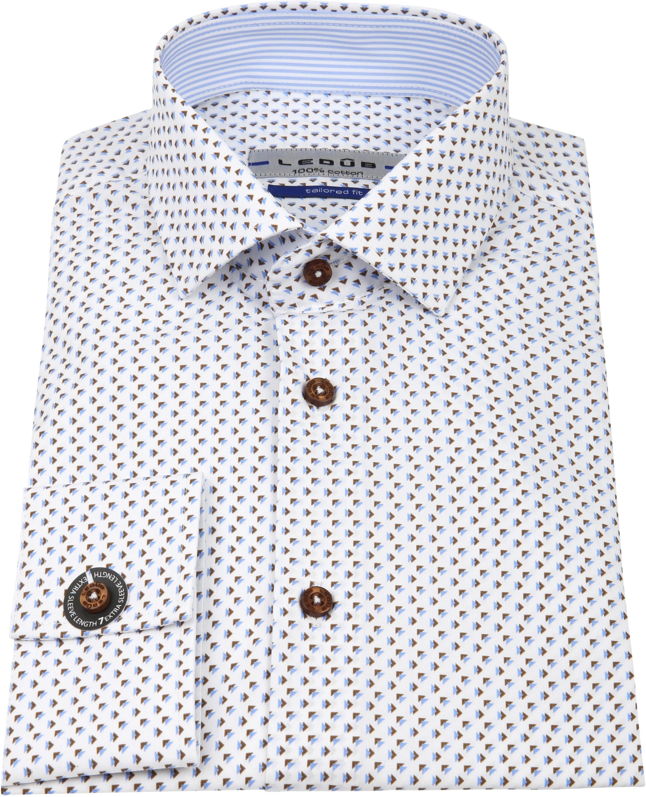 Ledub Overhemd Print Bruin Blauw SL7 foto 3