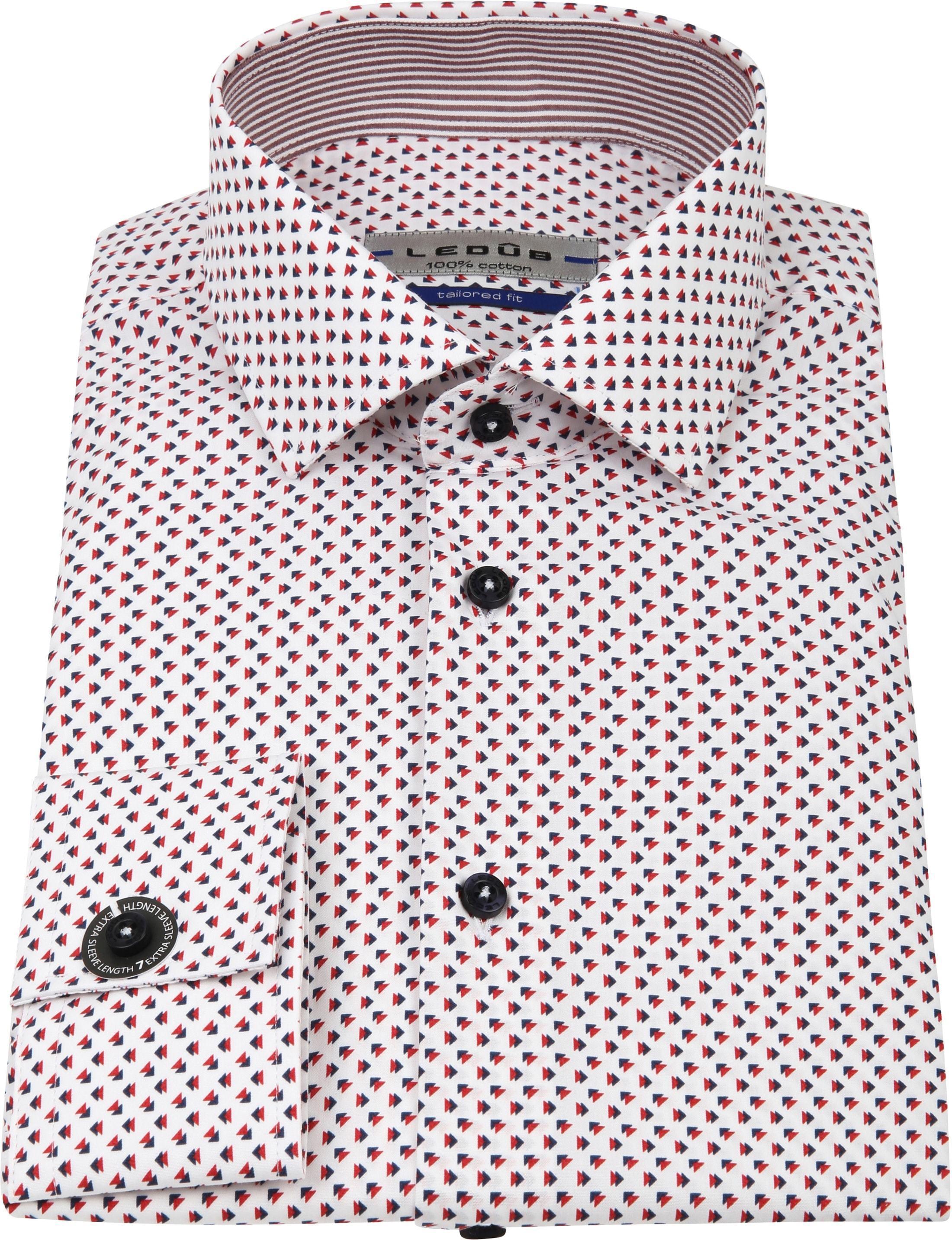 Ledub Overhemd Print Rood Blauw SL7 foto 3