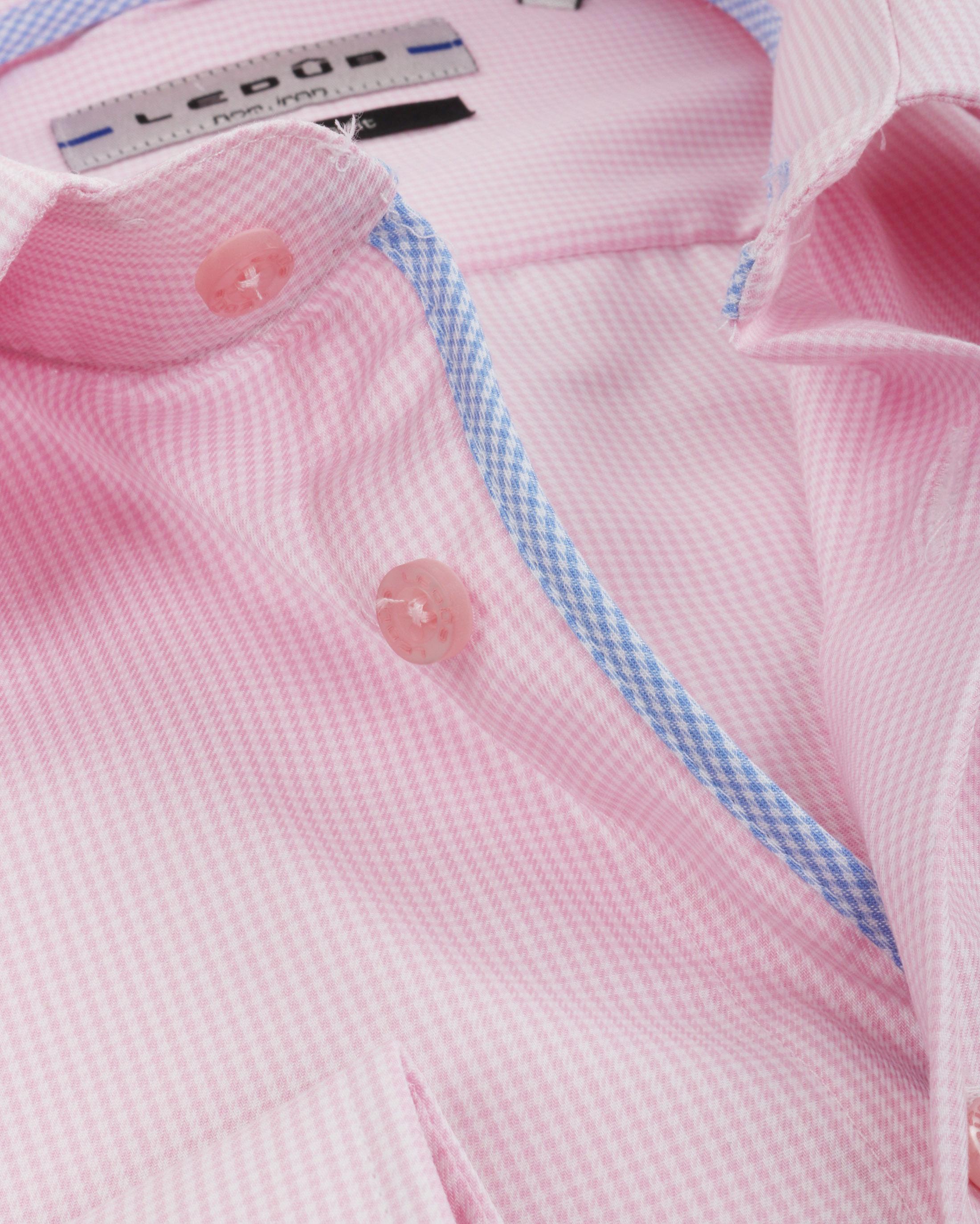 Ledub Overhemd Ruit Roze foto 1