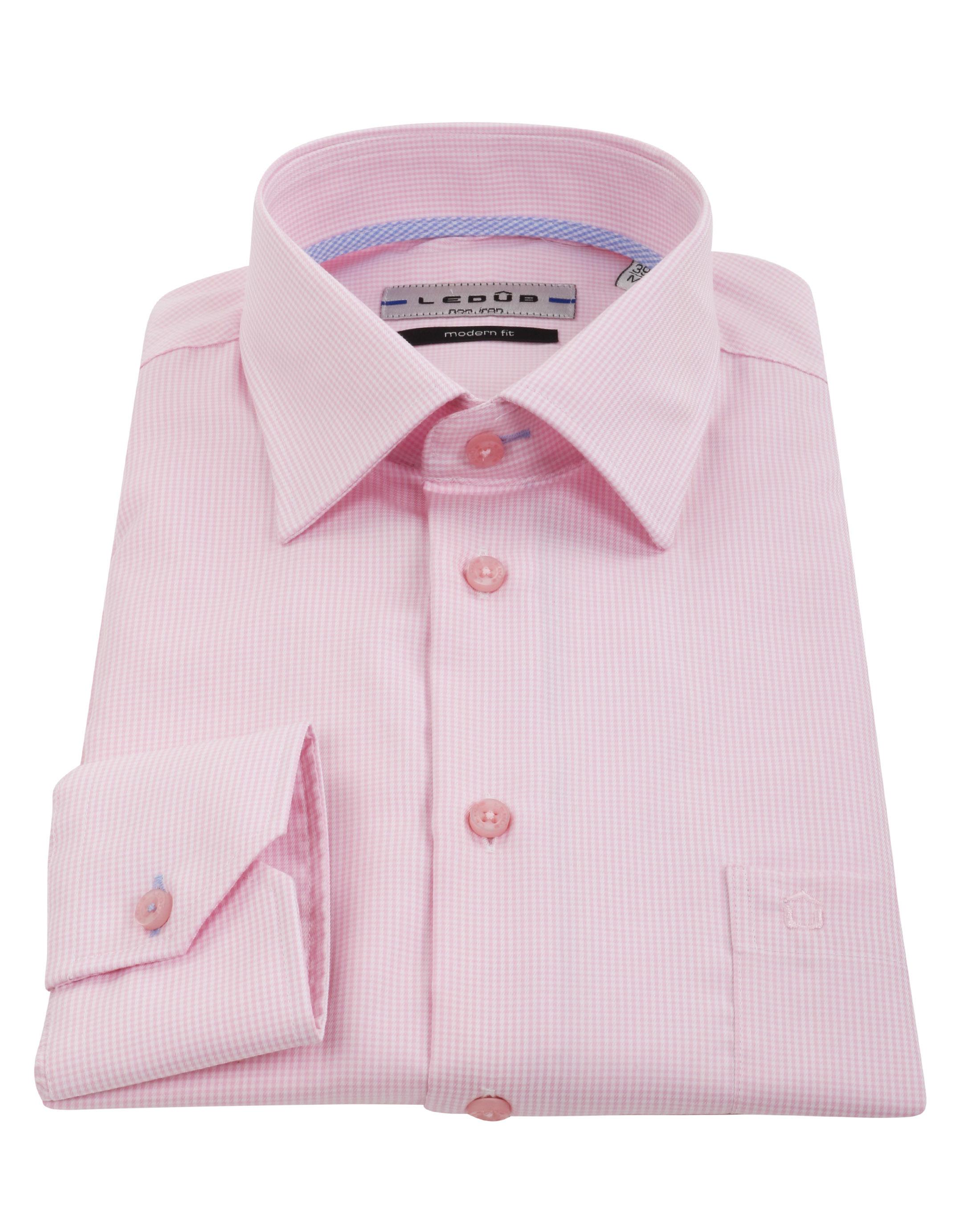 Ledub Overhemd Ruit Roze foto 2