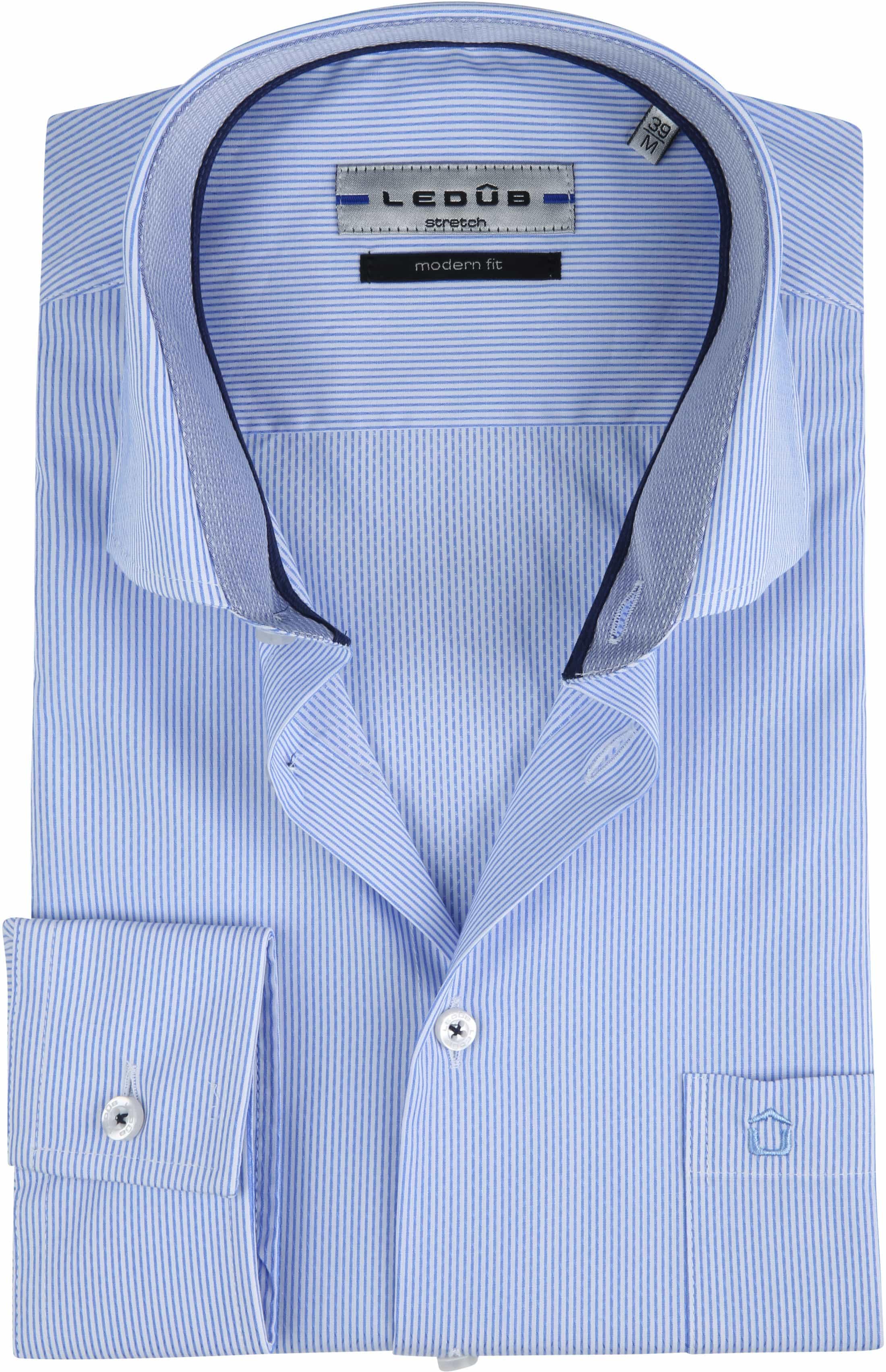 Ledub Overhemd Stretch Streep Blauw foto 0