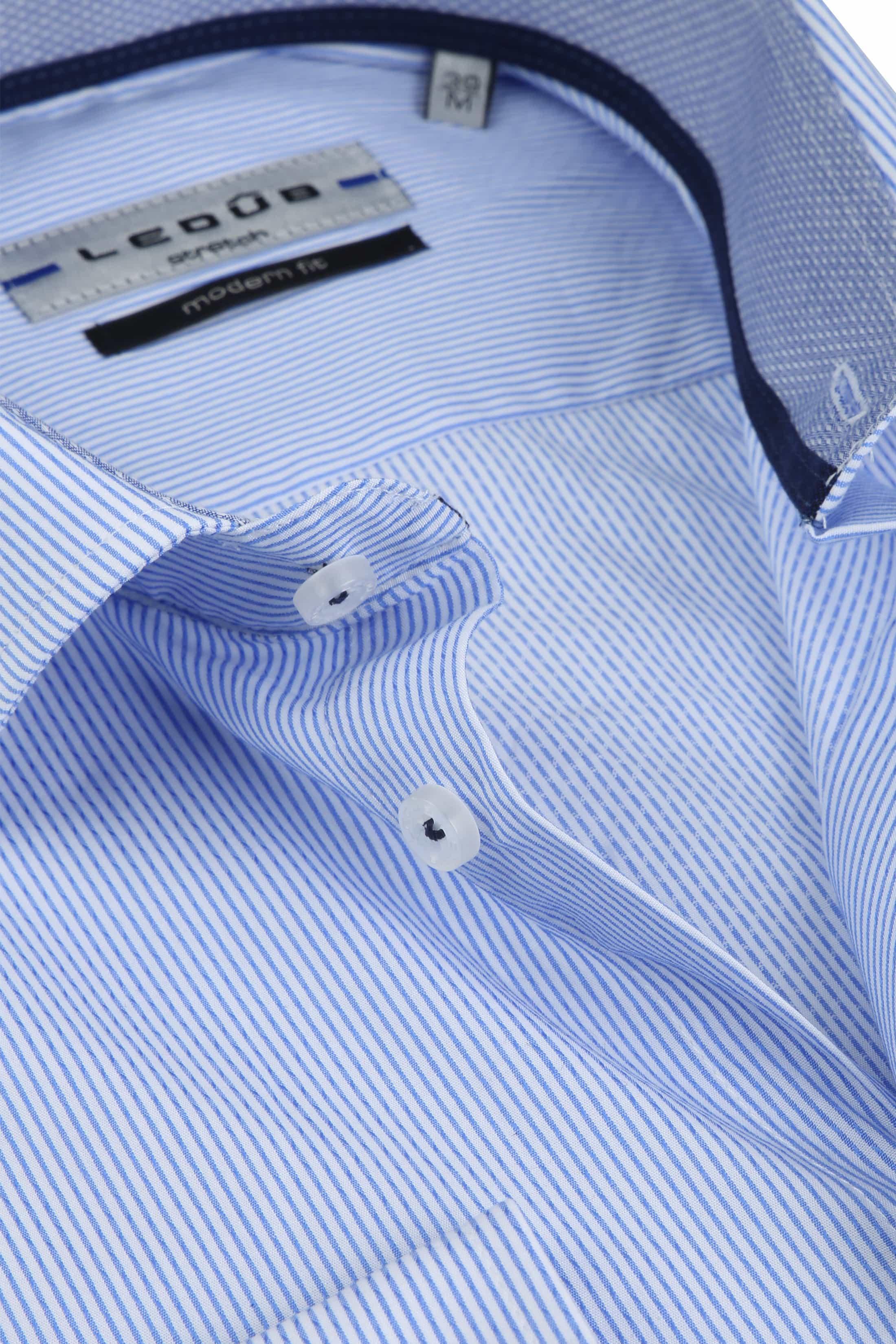 Ledub Overhemd Stretch Streep Blauw foto 1