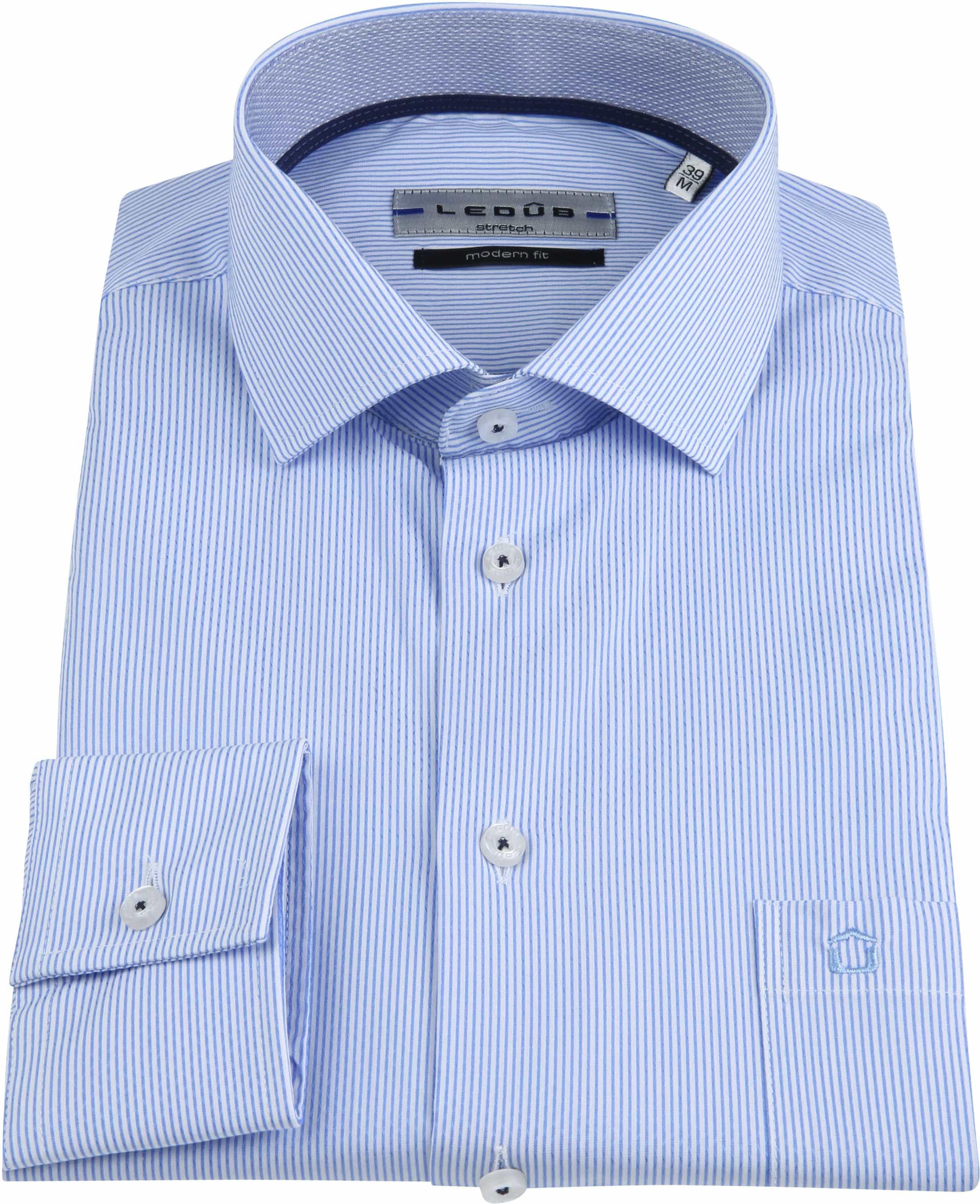 Ledub Overhemd Stretch Streep Blauw foto 2