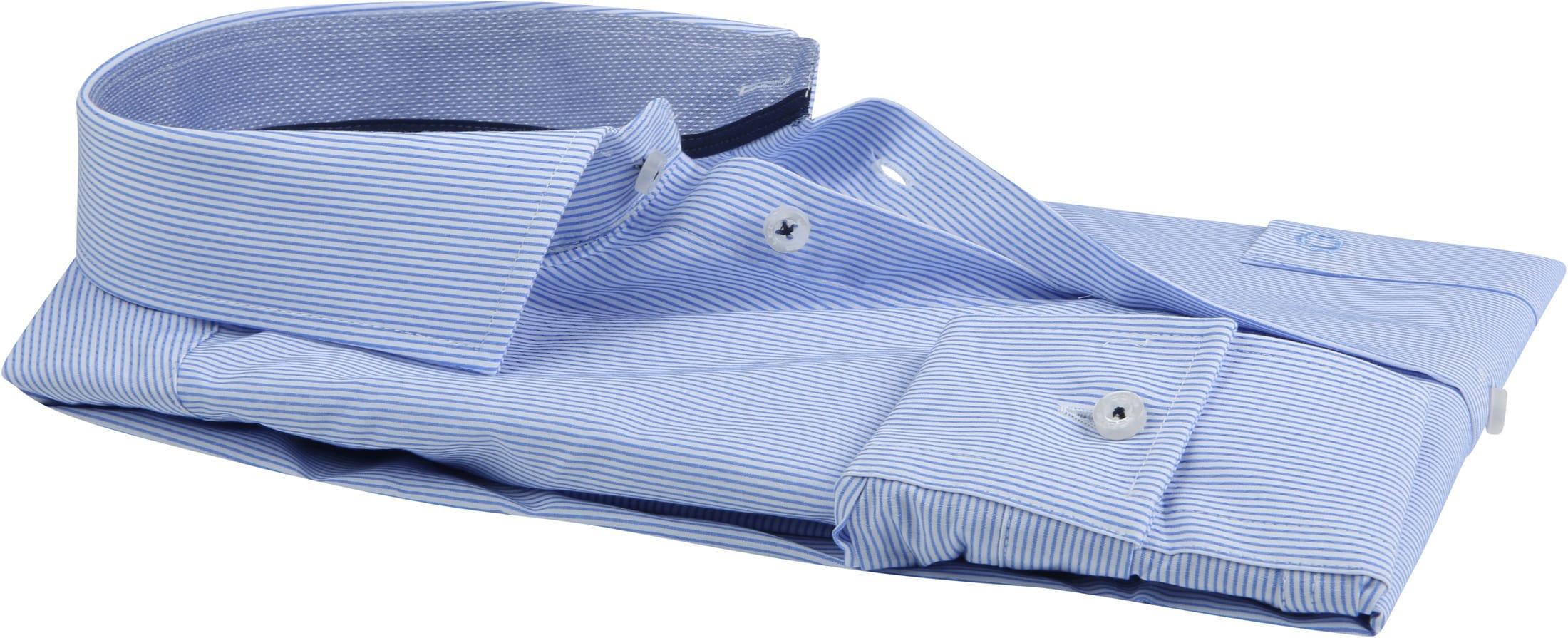 Ledub Overhemd Stretch Streep Blauw foto 3