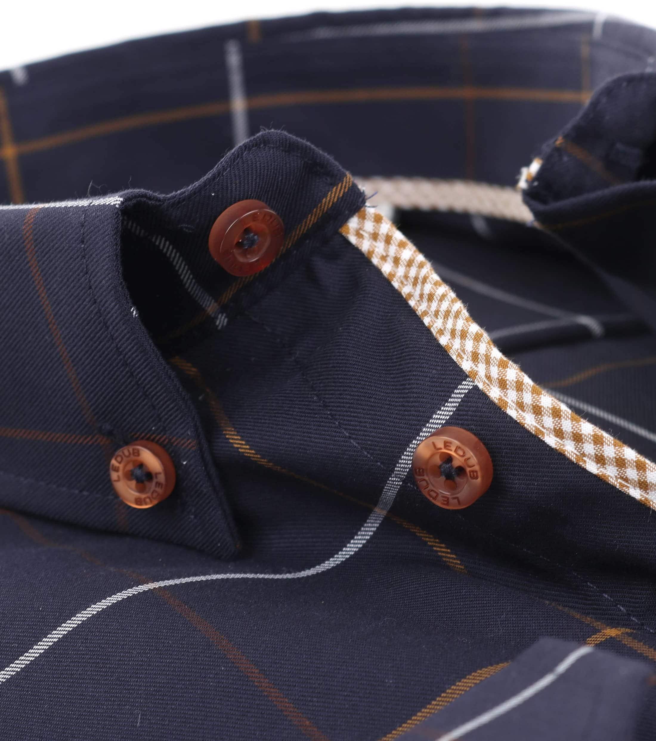 Ledub Overhemd Strijkvrij Navy Ruit foto 3