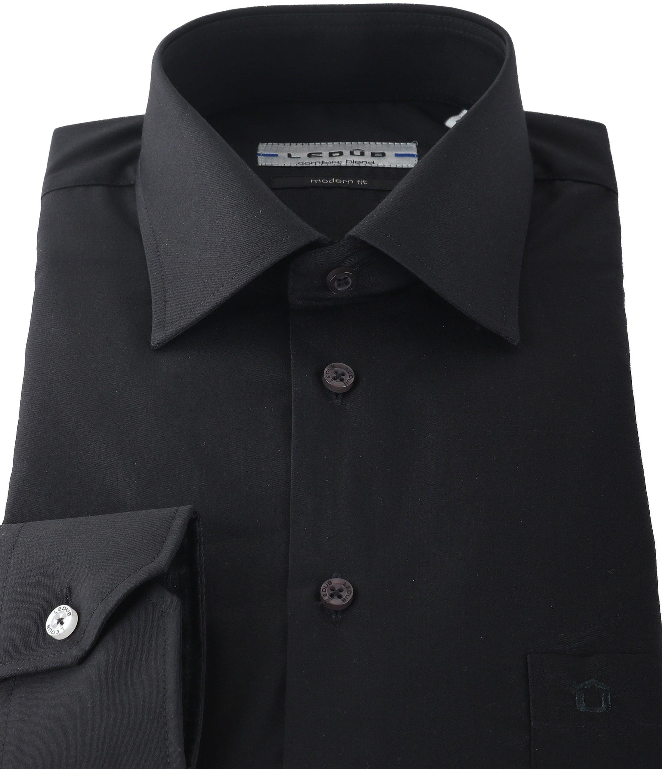 Ledub Overhemd Zwart Modern Fit foto 1
