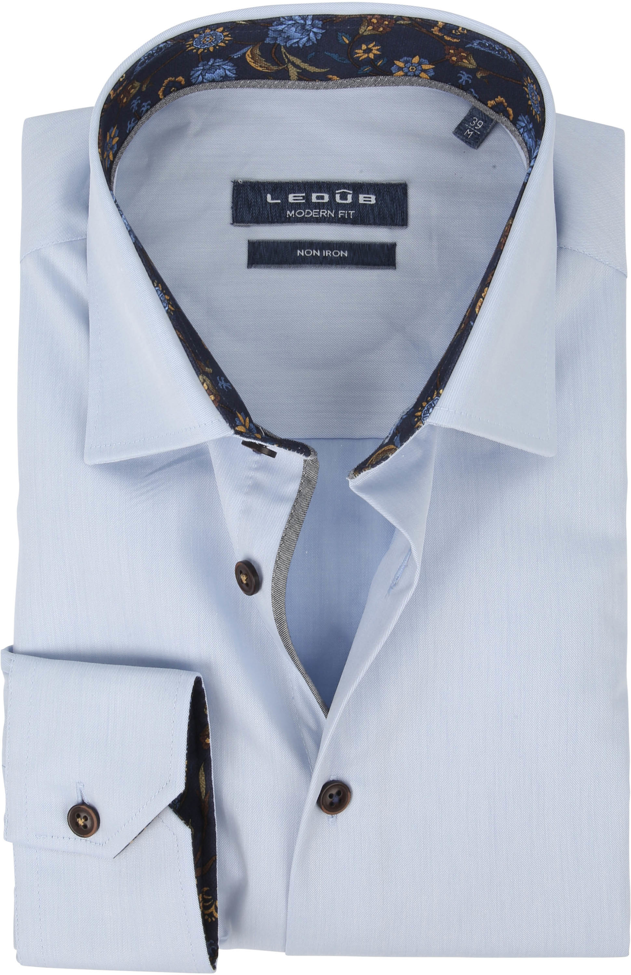 Ledub Shirt Non Iron Blauw Flowers