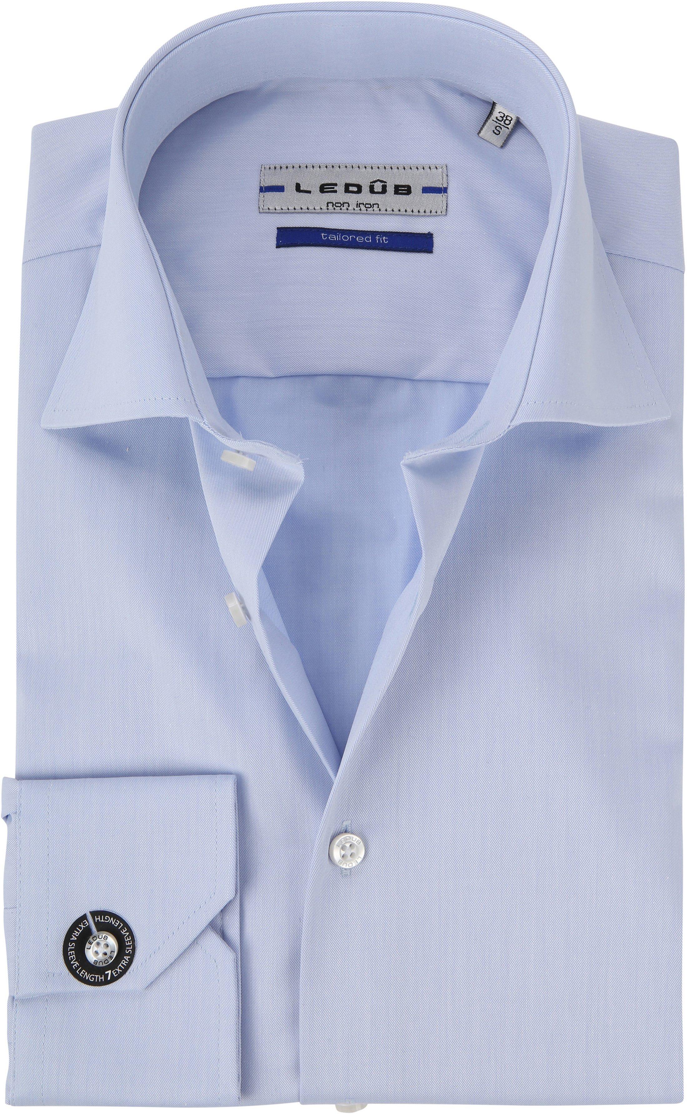 Ledub Strijkvrij Overhemd Blauw Sleeve 7 foto 0
