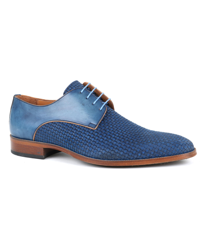 Chaussures Hommes Cuir Tresse Bleu zEpjcbFn0