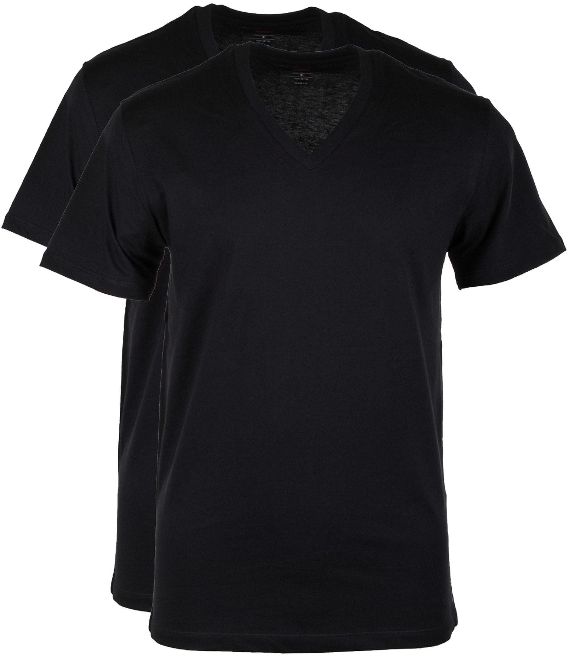 Levi's T-shirt V-Hals Zwart 2Pack foto 0