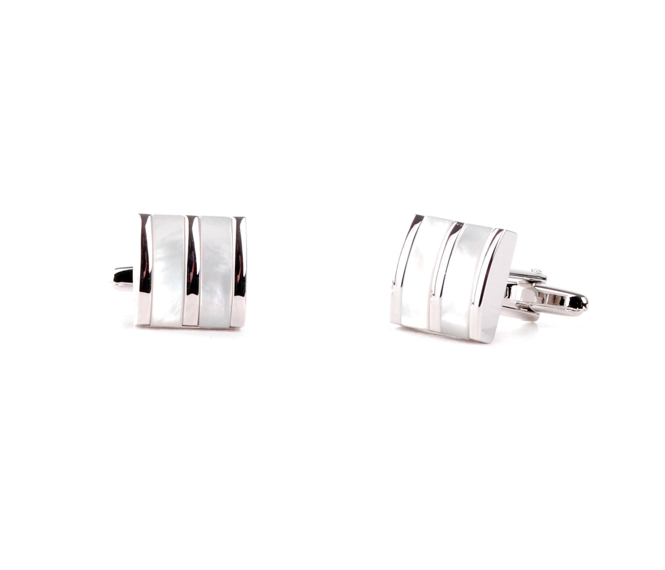 Manschettenknöpfe Silber und Weiß Streifen foto 0