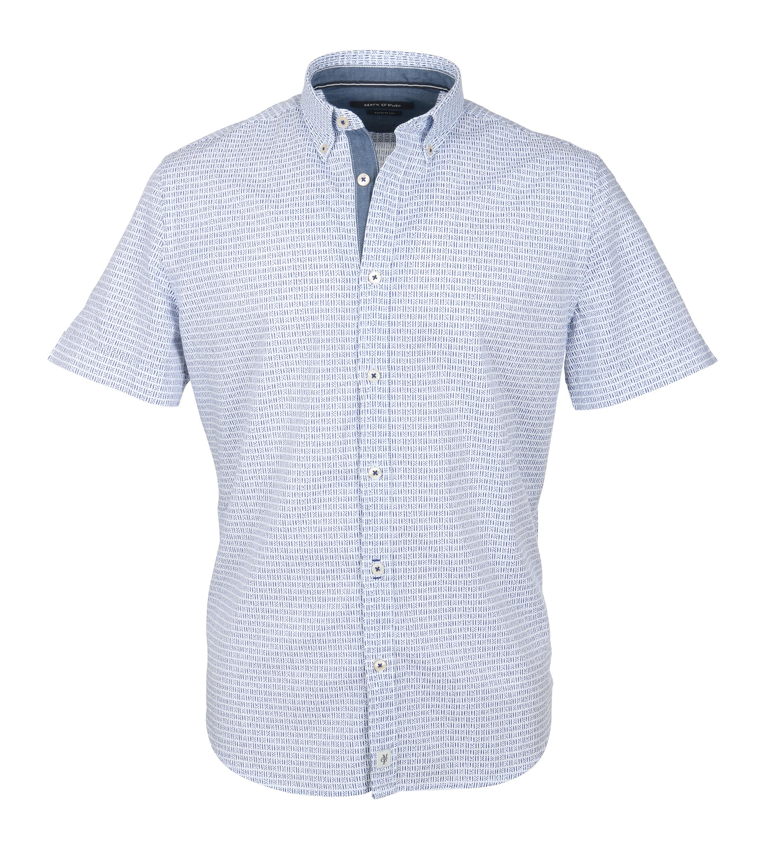 Marc O'Polo Korte Mouw Overhemd Wit Blauw foto 0