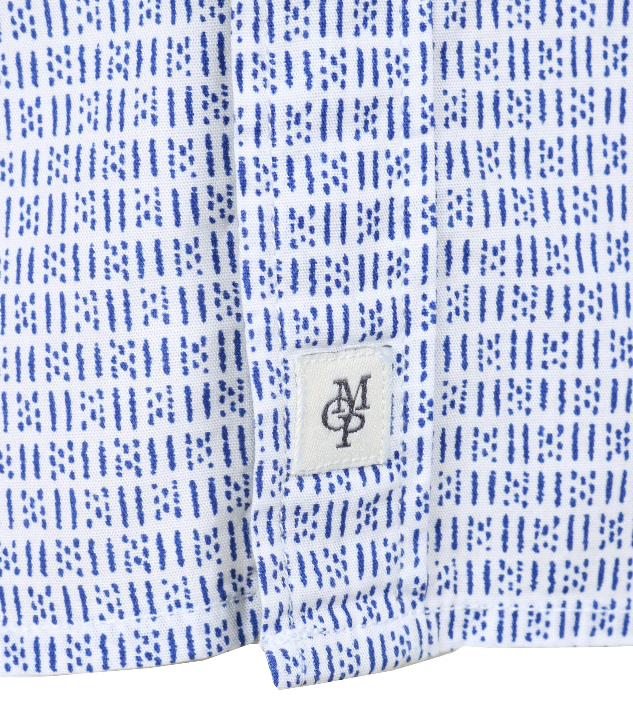 Marc O'Polo Korte Mouw Overhemd Wit Blauw foto 2
