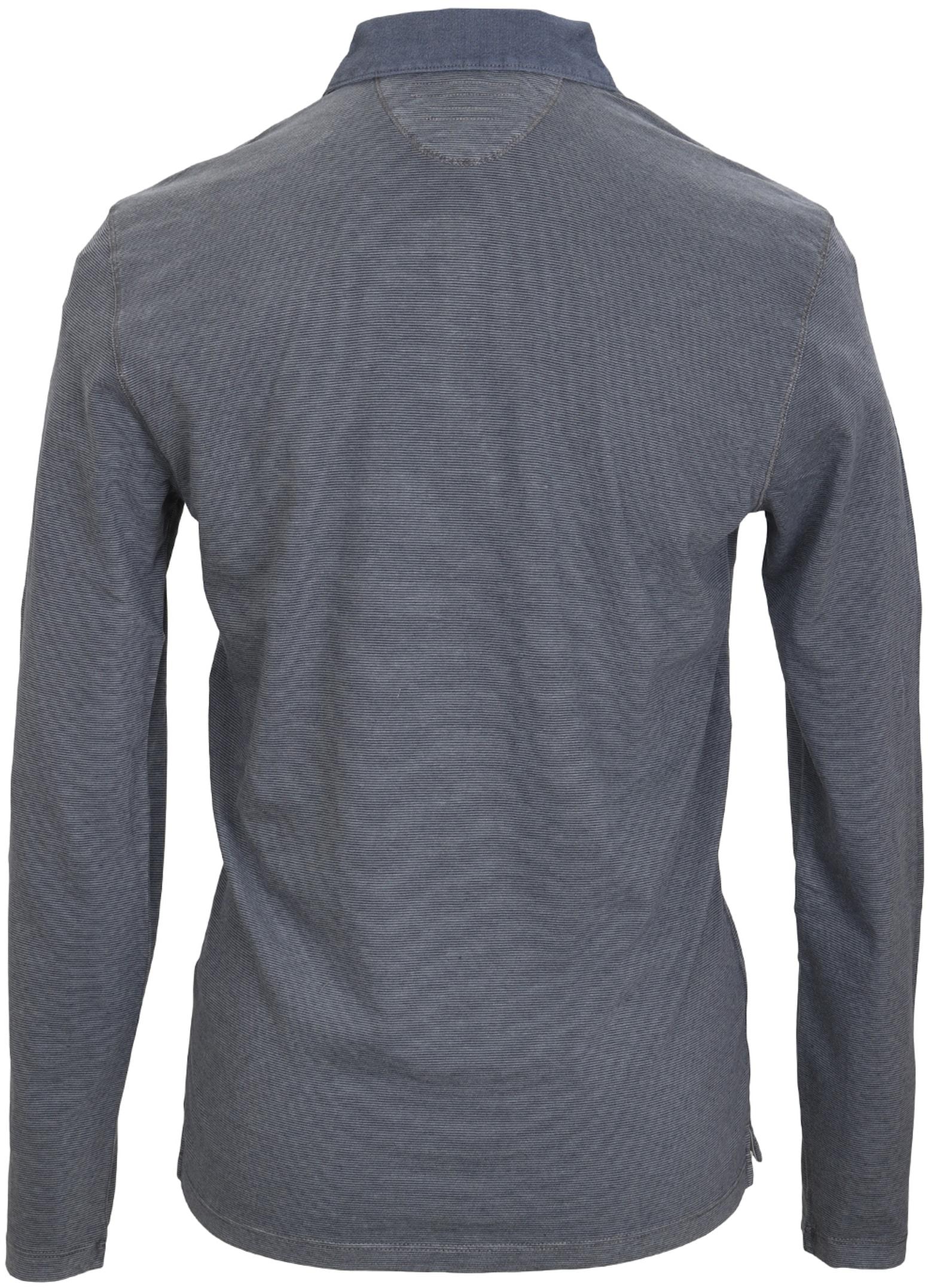 Marc O'Polo Lange Ärmel Poloshirt Blau Grau foto 2
