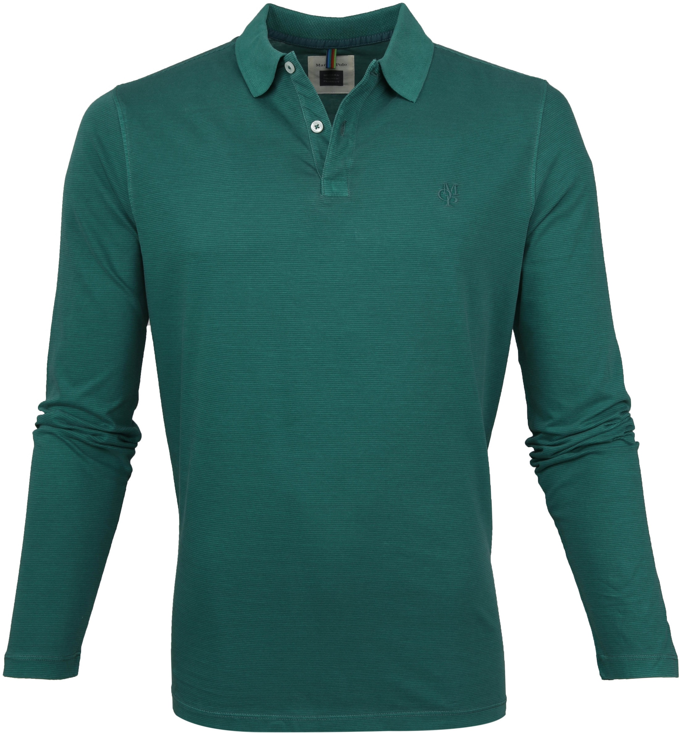 Marc O'Polo Poloshirt LS Strepen Groen