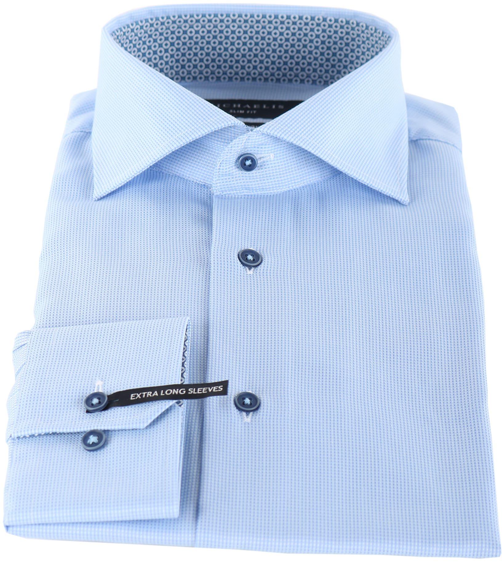 Michaelis Overhemd Dessin Blauw SL7 foto 1