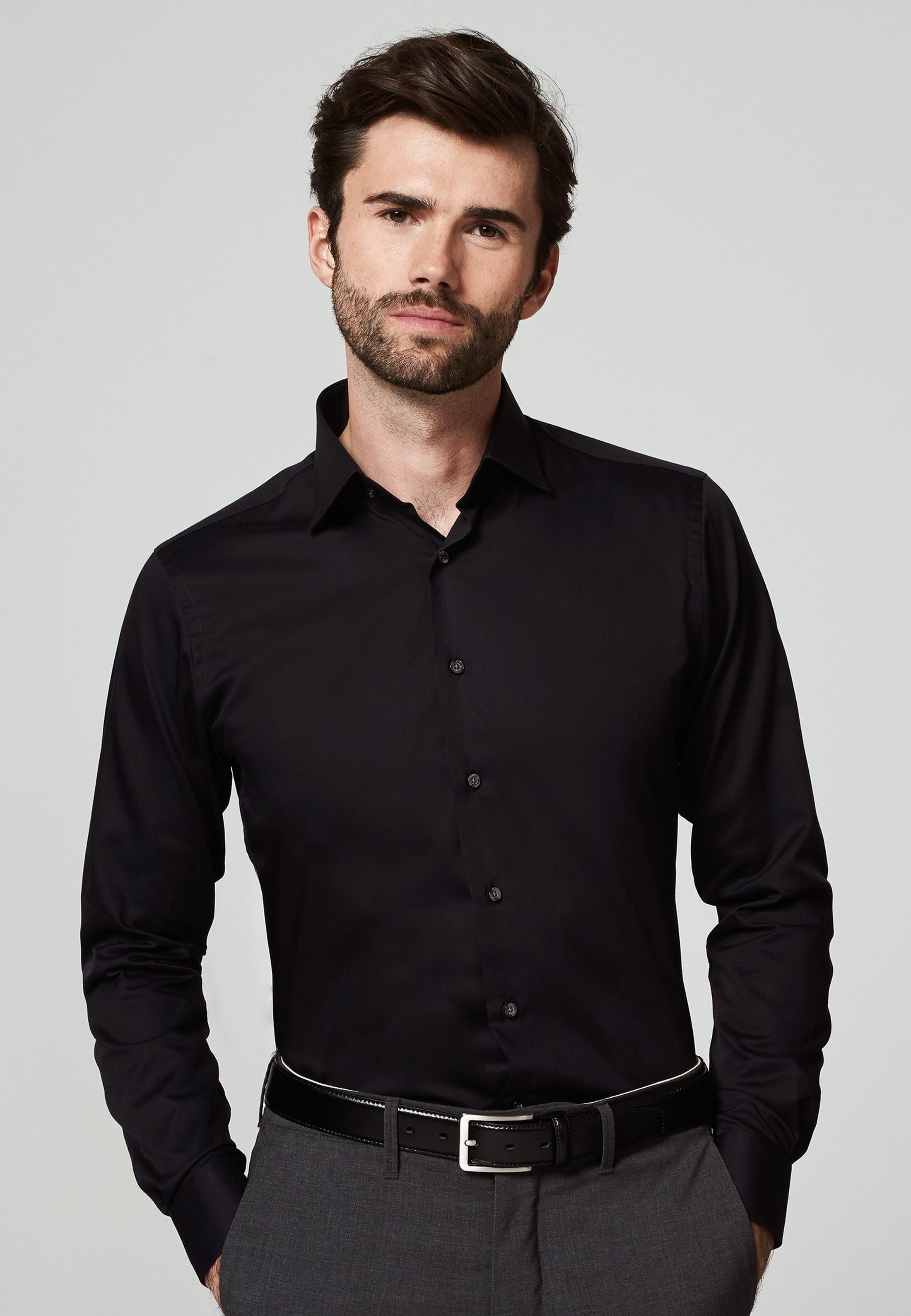 Michaelis Overhemd Slim Fit Zwart foto 1