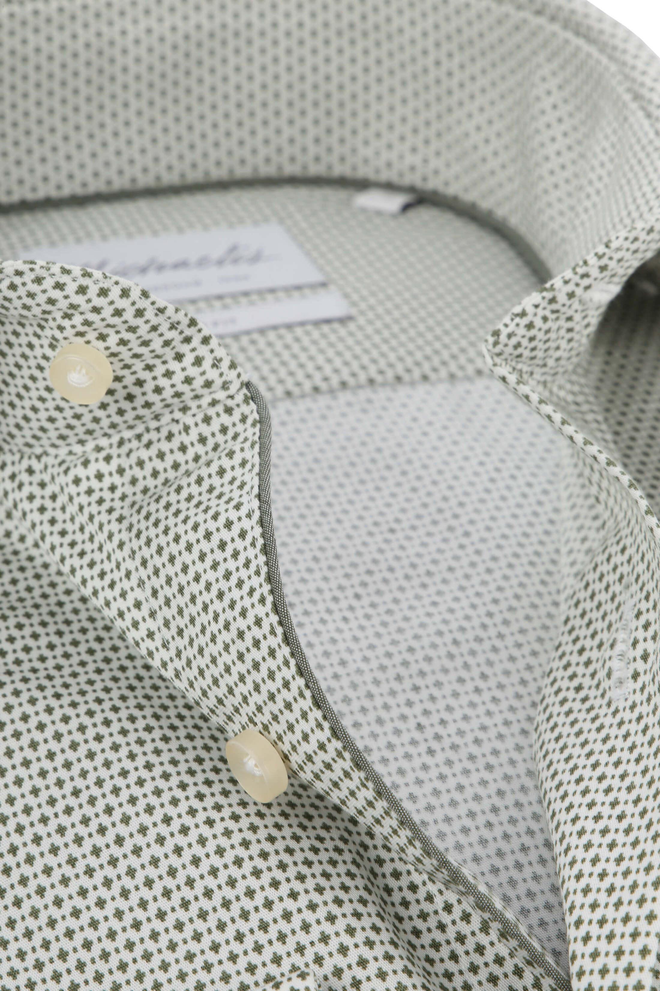 Michaelis Overhemd Strijkvrij Dessin Olive foto 1