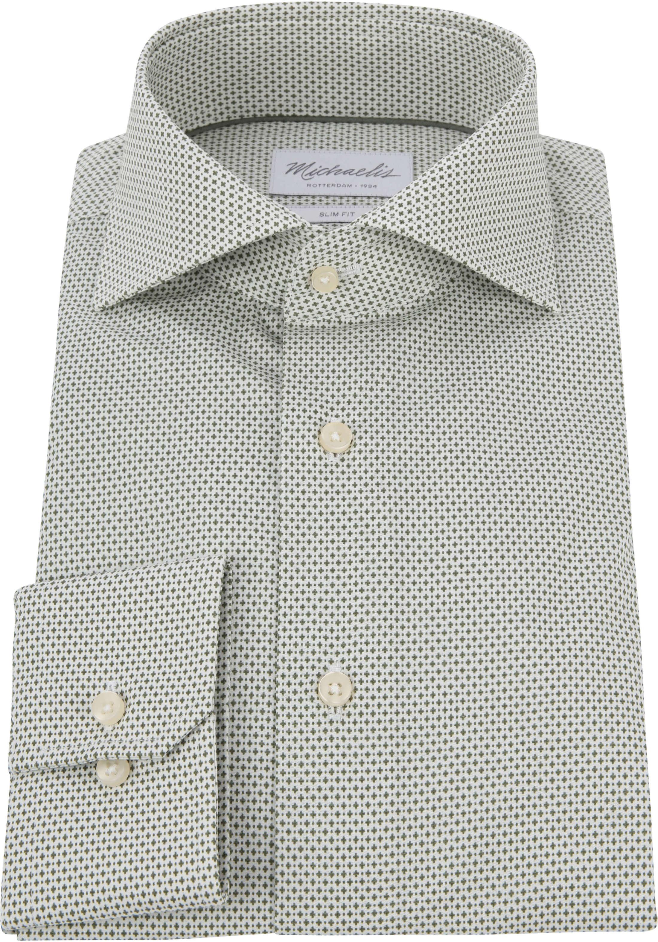 Michaelis Overhemd Strijkvrij Dessin Olive foto 2