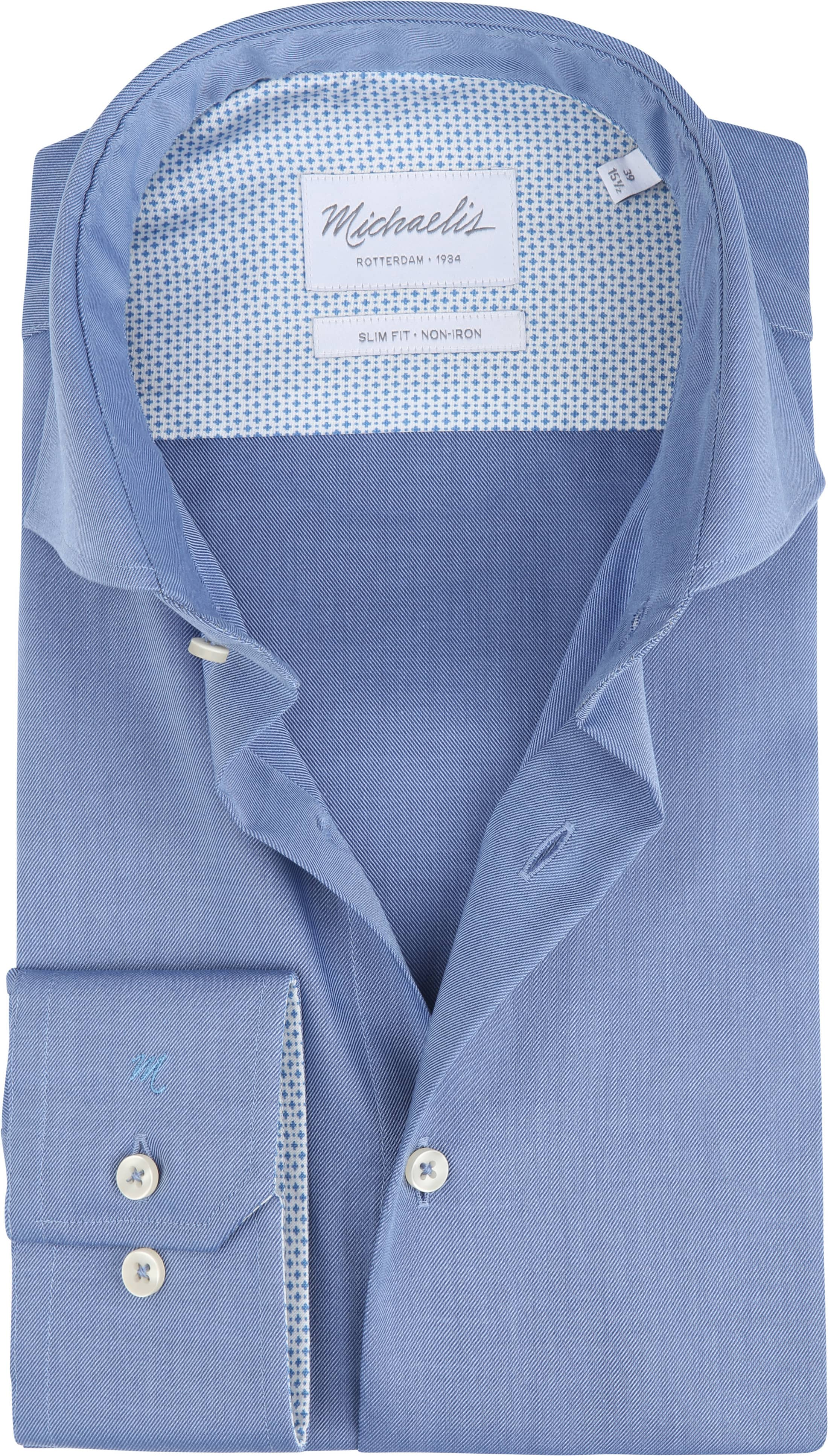 Michaelis Overhemd Strijkvrij Uni Blauw foto 0