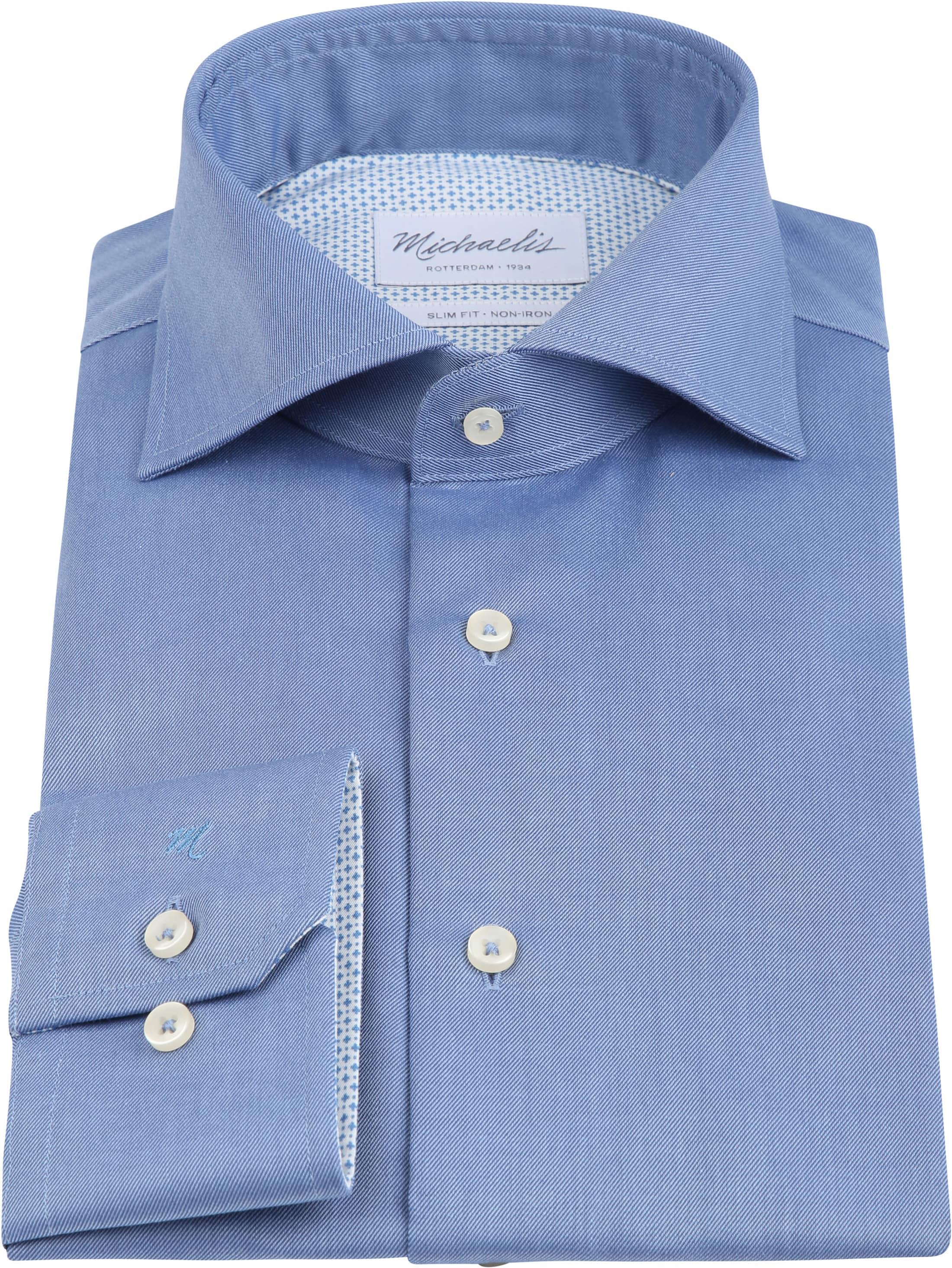 Michaelis Overhemd Strijkvrij Uni Blauw foto 2