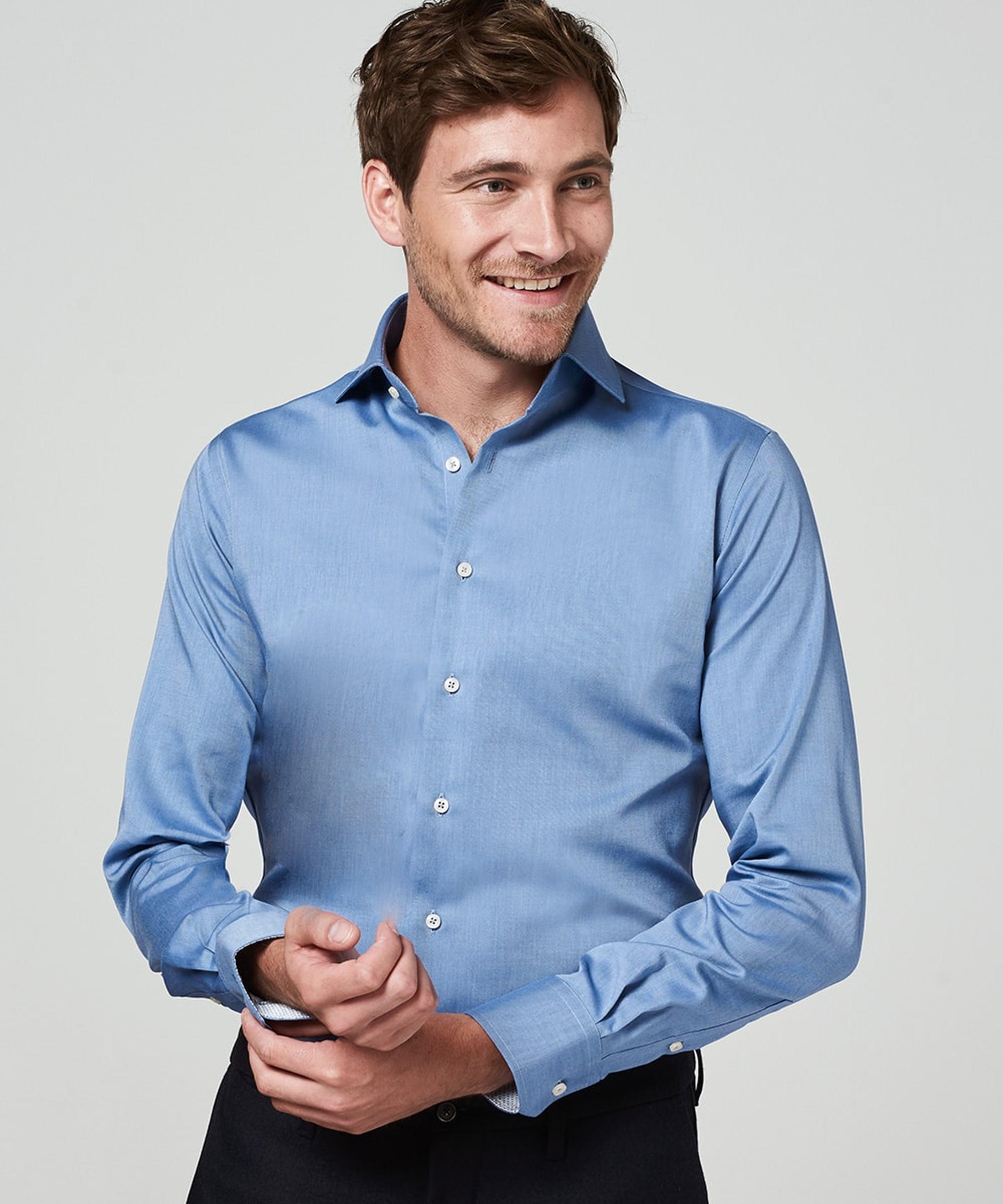 Michaelis Overhemd Strijkvrij Uni Blauw foto 4