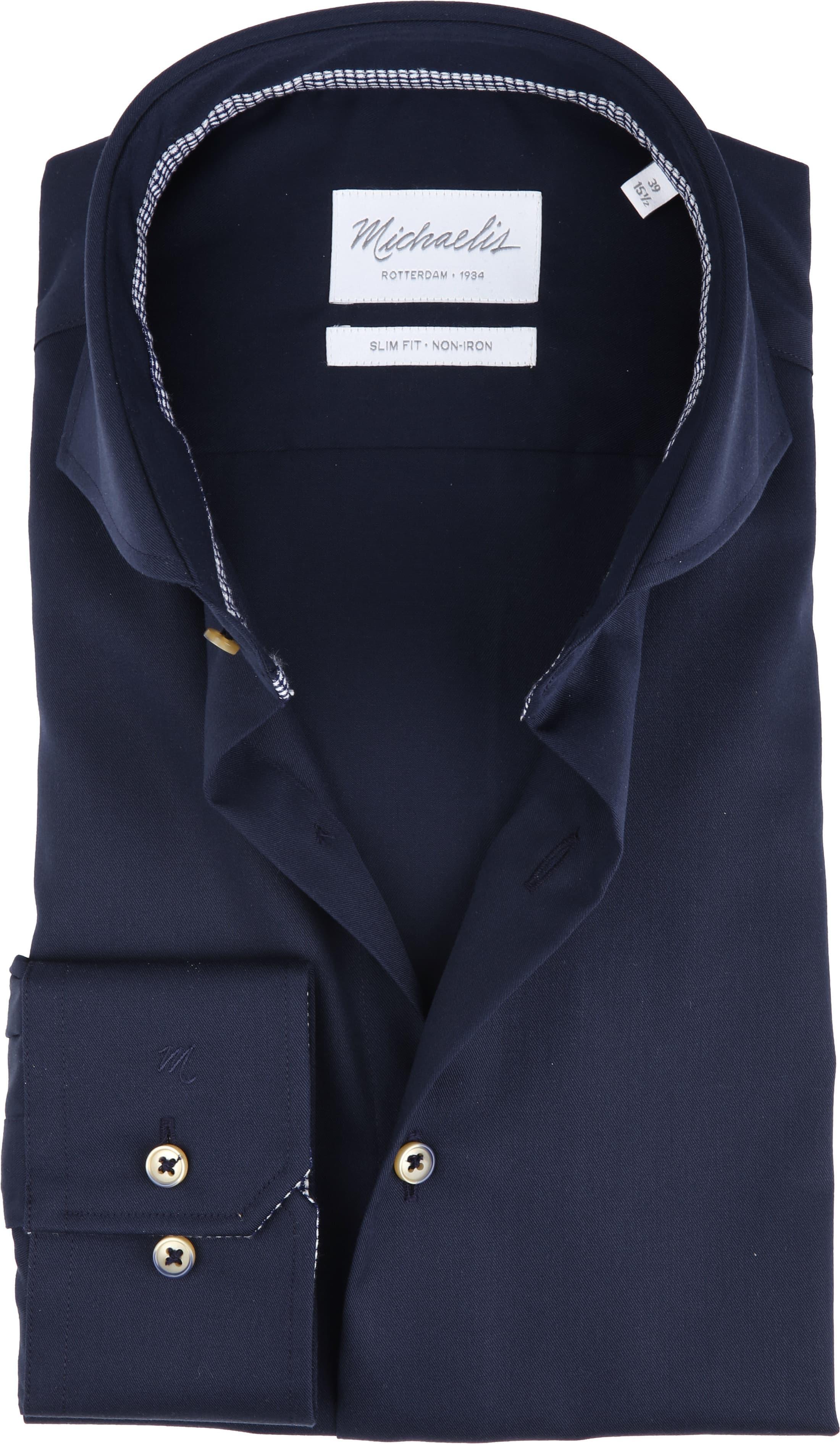 Michaelis Overhemd Strijkvrij Uni Navy foto 0