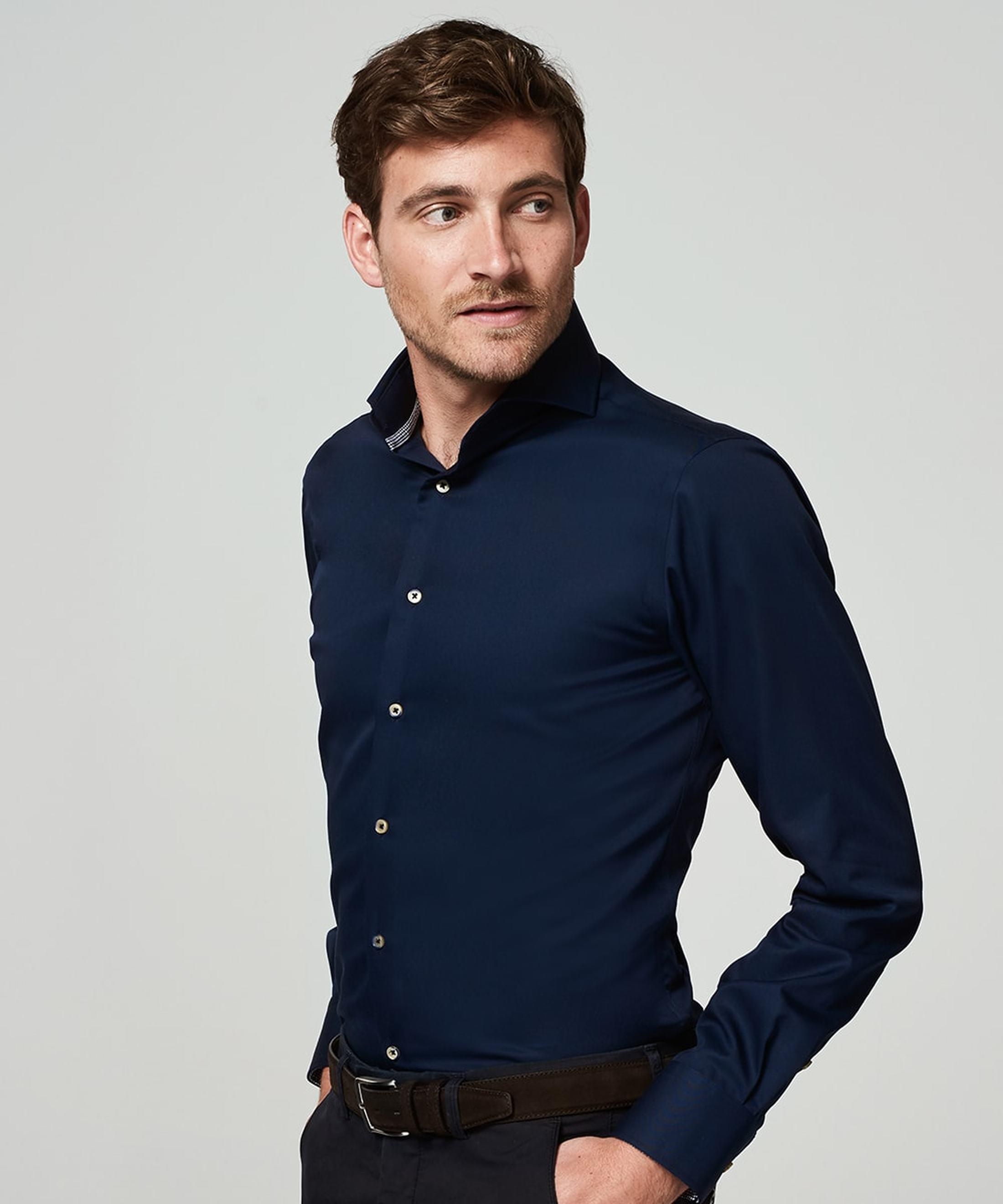 Michaelis Overhemd Strijkvrij Uni Navy foto 4