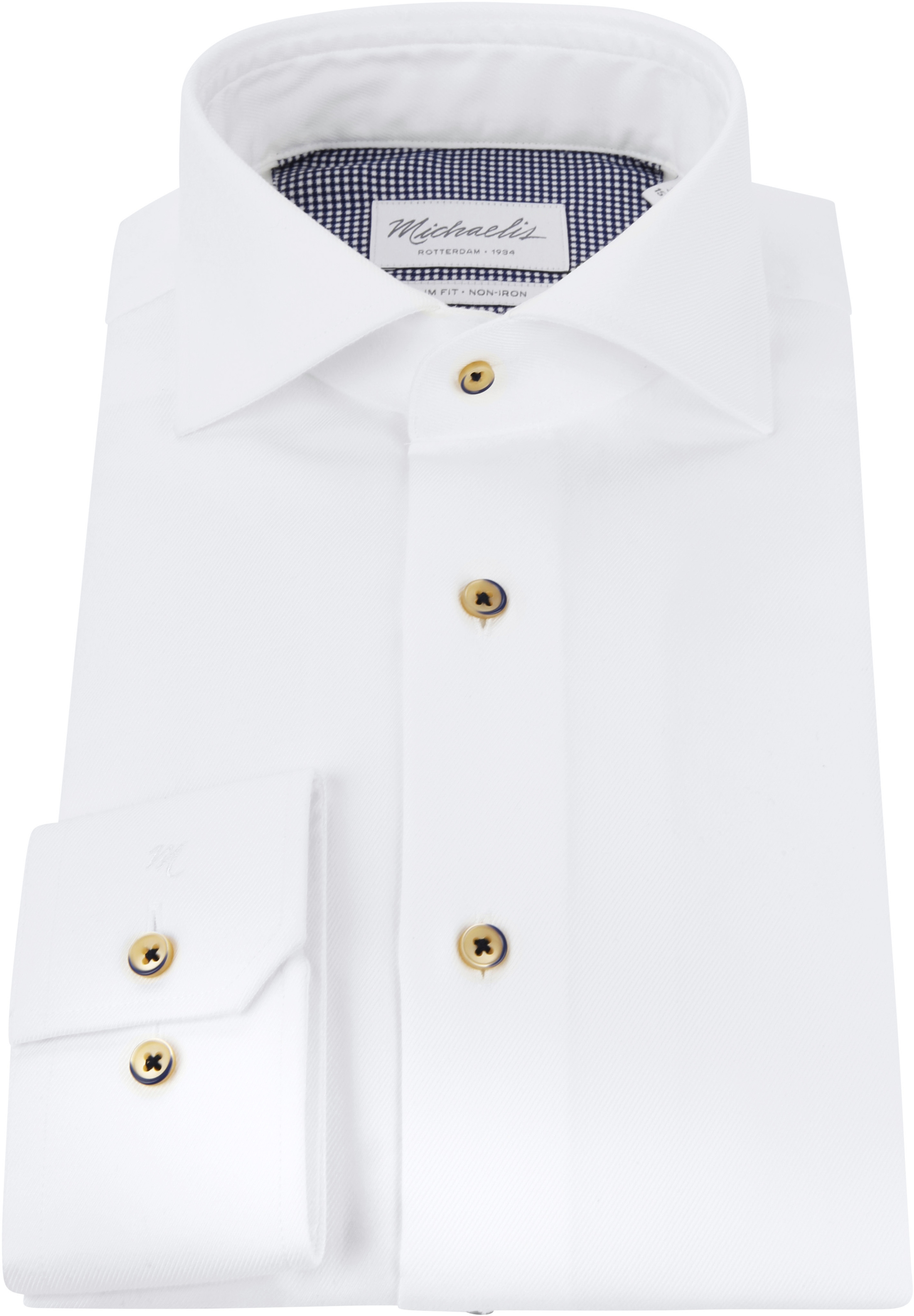 Michaelis Overhemd Twill Strijkvrij Wit foto 2