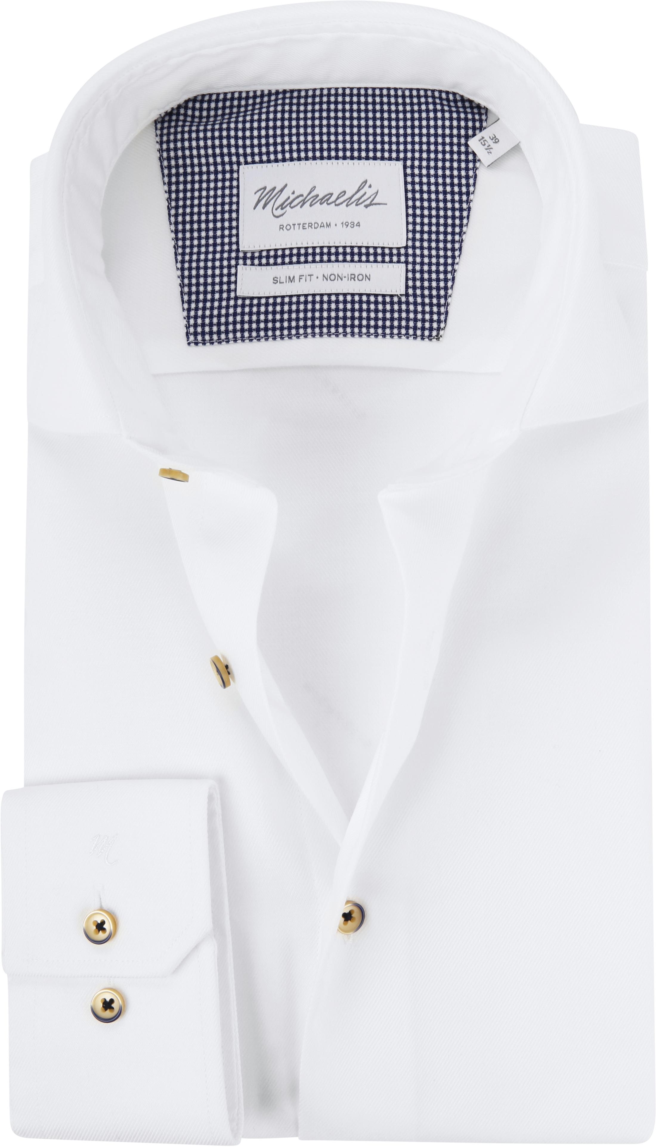 Michaelis Overhemd Twill Strijkvrij Wit foto 0