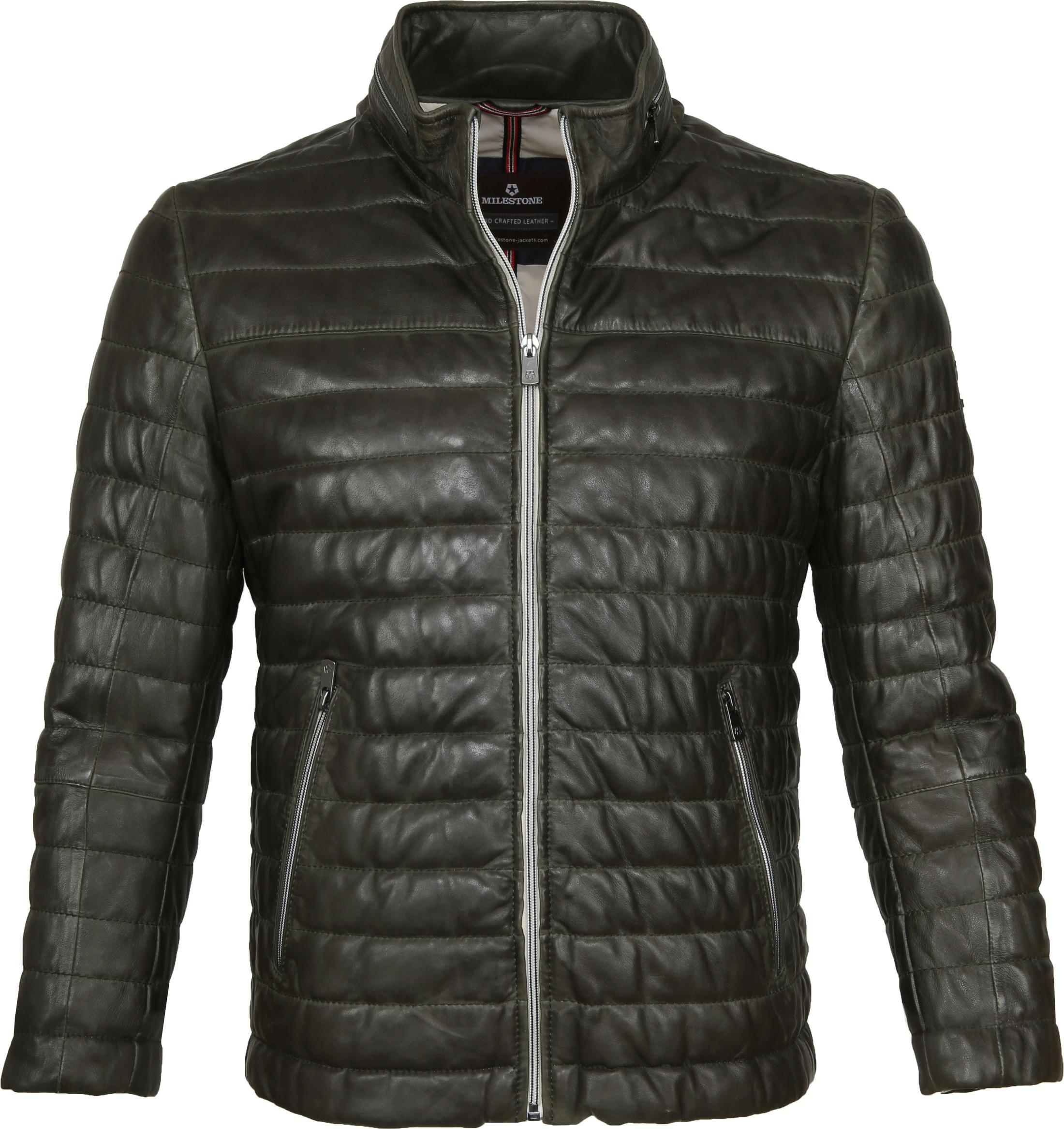 Milestone Tereno Leather Jacket Dark Green foto 0