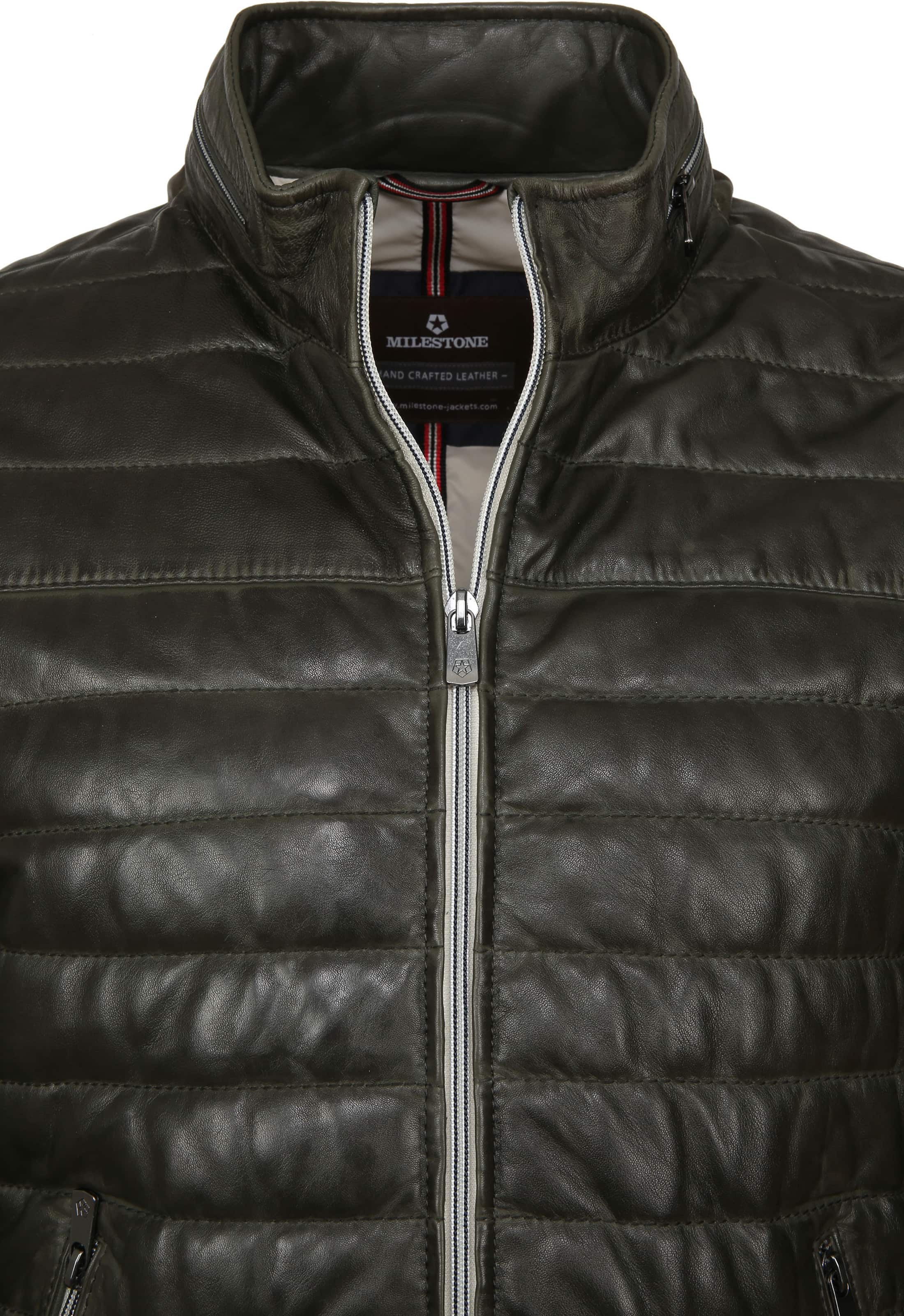 Milestone Tereno Leather Jacket Dark Green foto 2