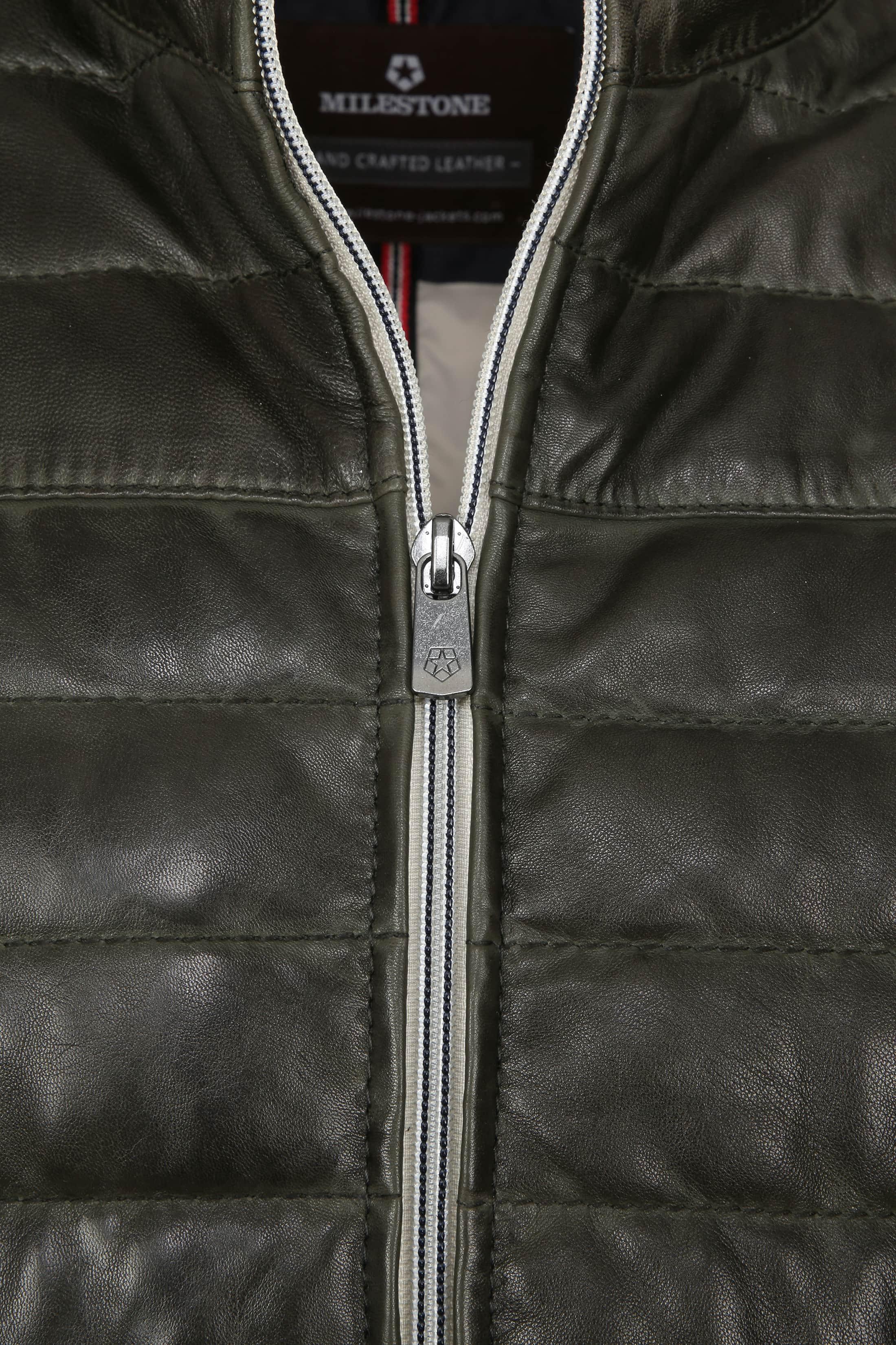 Milestone Tereno Leather Jacket Dark Green foto 3