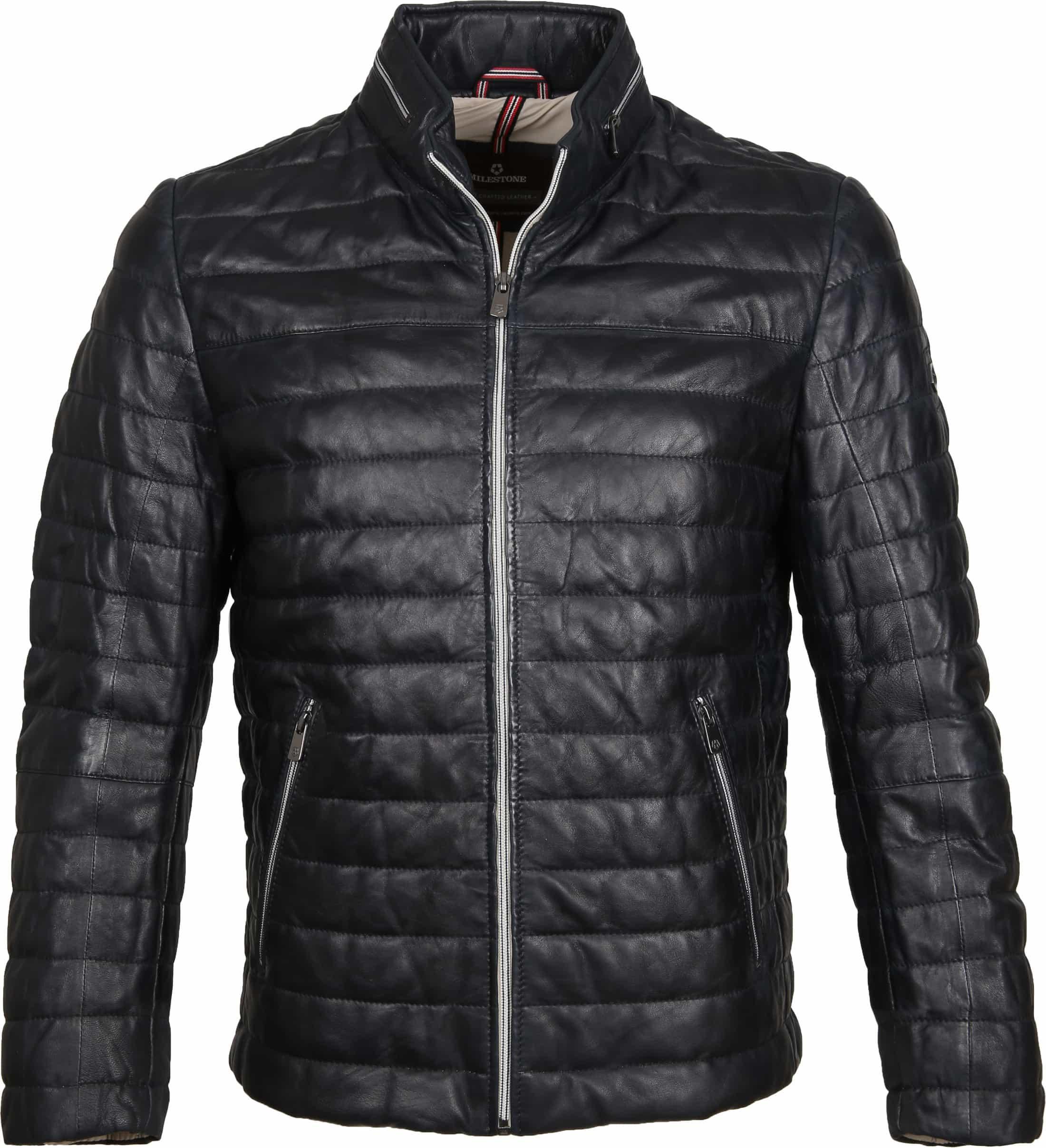 Milestone Tereno Leather Jacket Navy Grey foto 0
