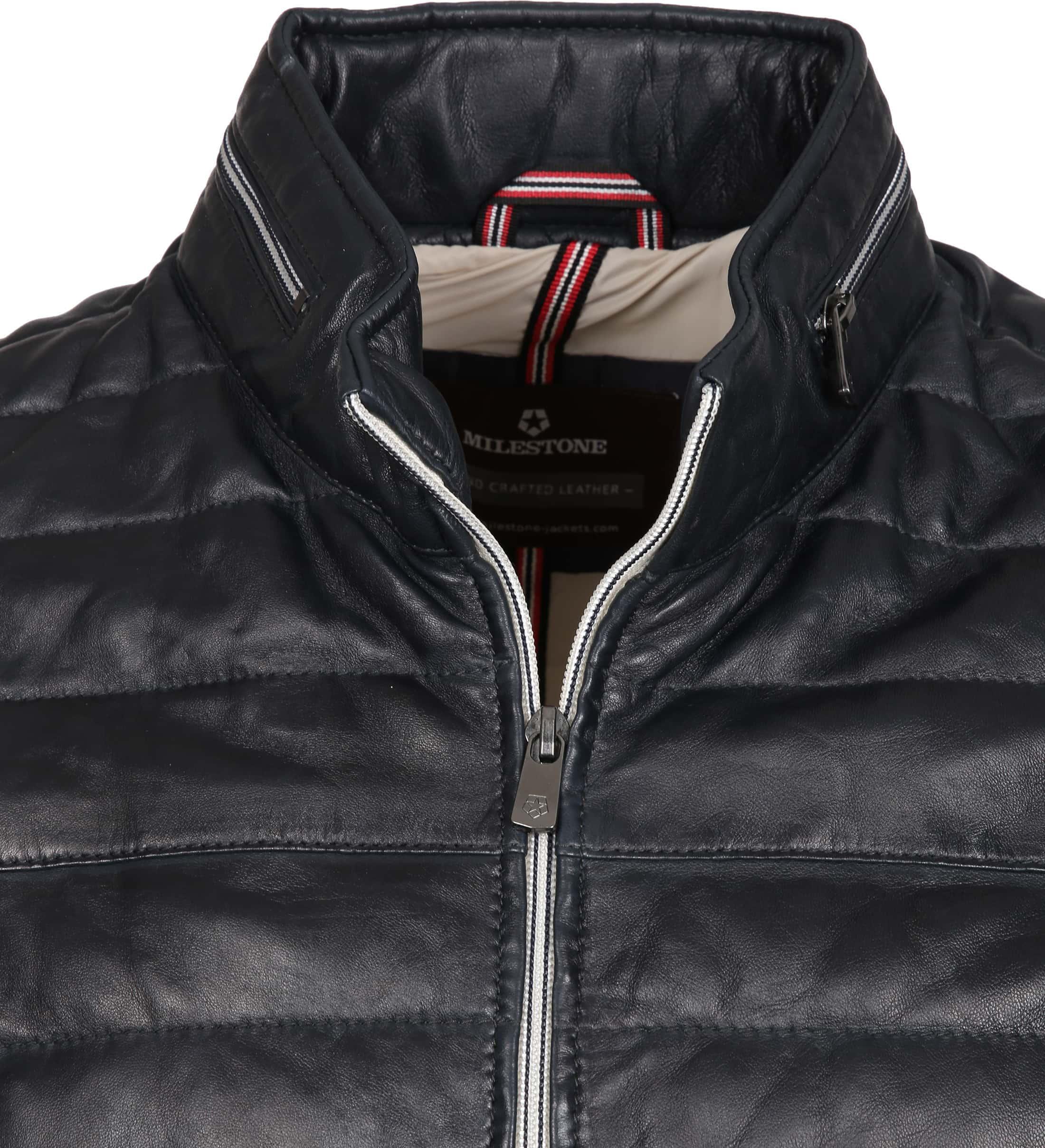 Milestone Tereno Leather Jacket Navy Grey foto 1