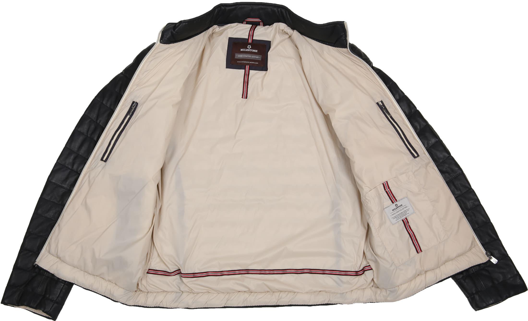 Milestone Tereno Leather Jacket Navy Grey foto 6