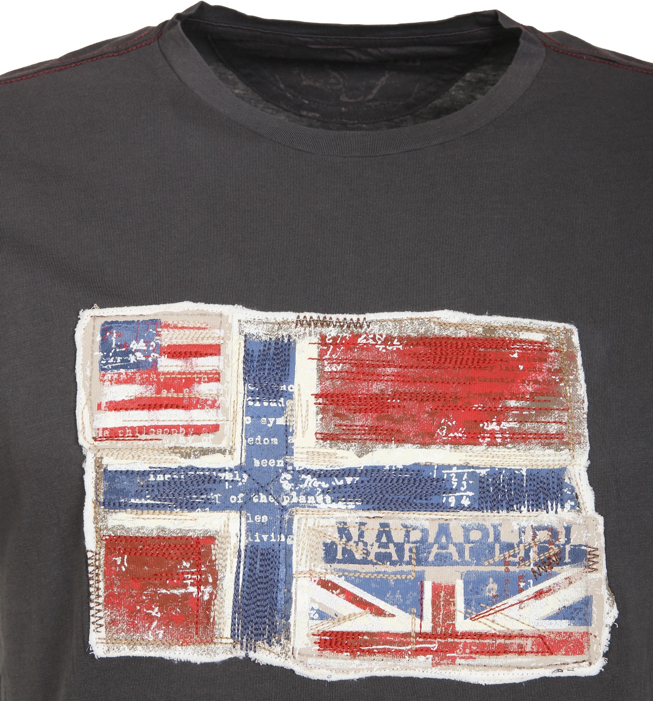 Napapijri T-shirt Senou Flag Dunkelgrau foto 1