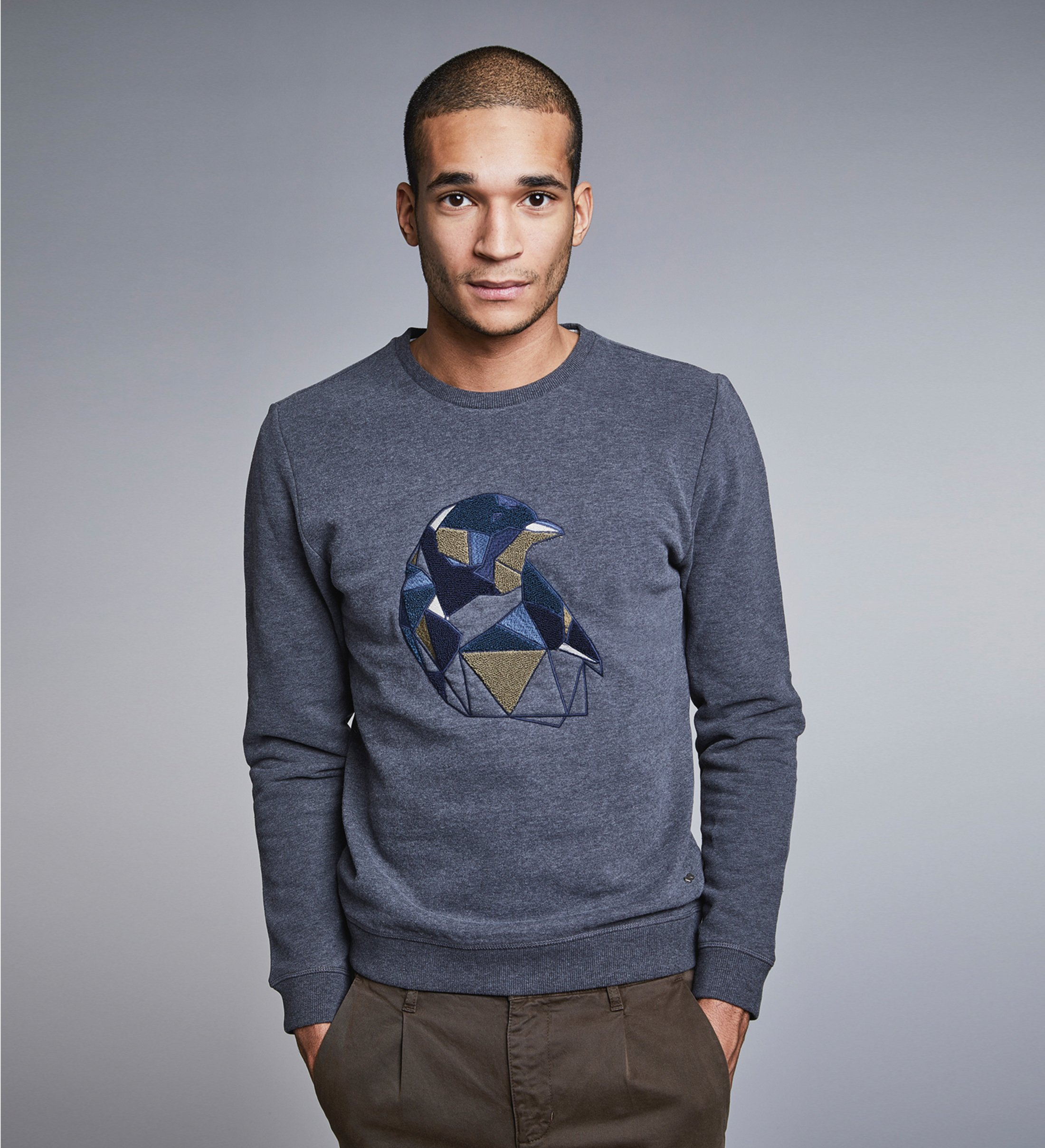 New In Town Sweater Antraciet Print foto 1