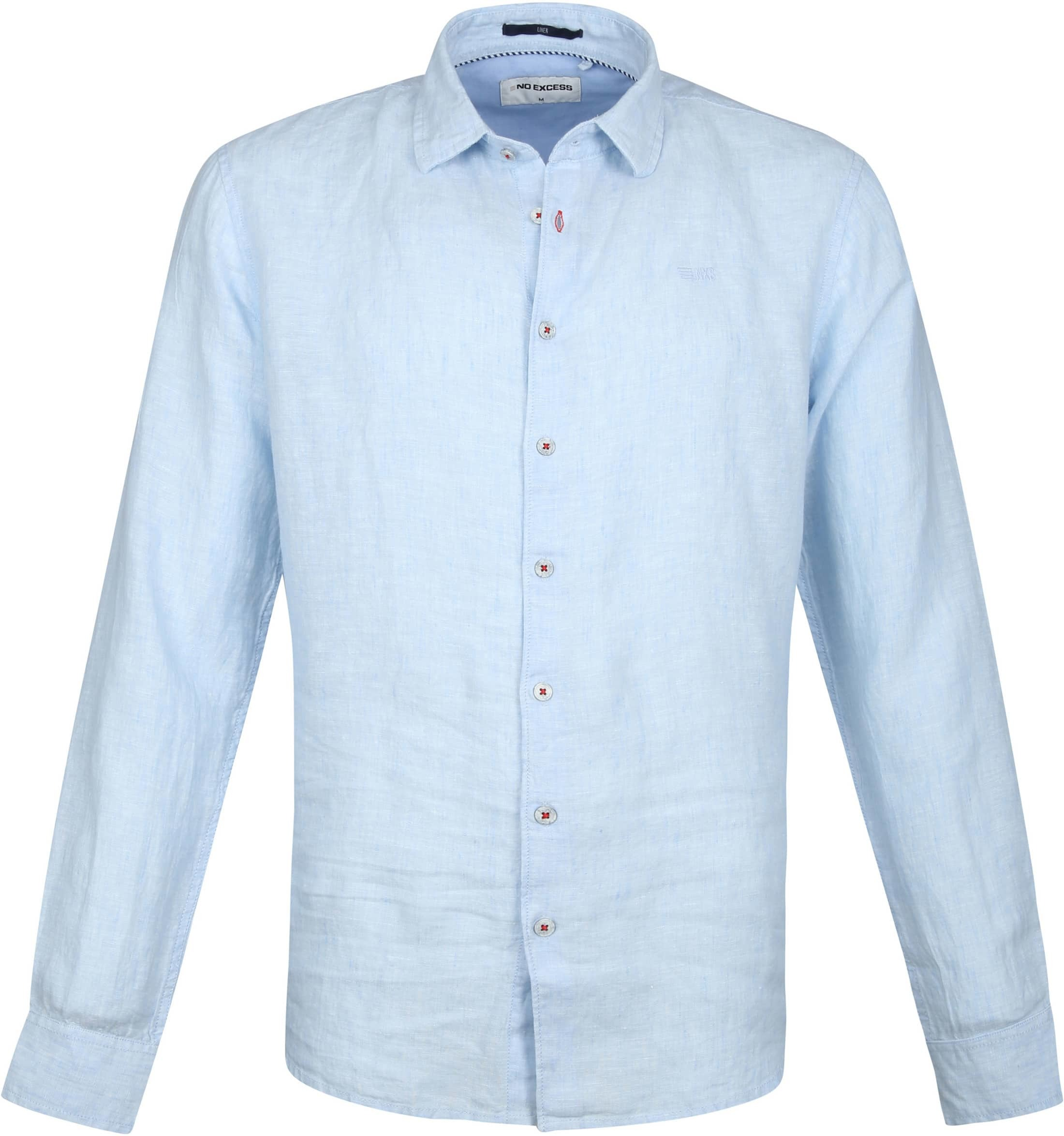No-Excess Linen Shirt Light Blue