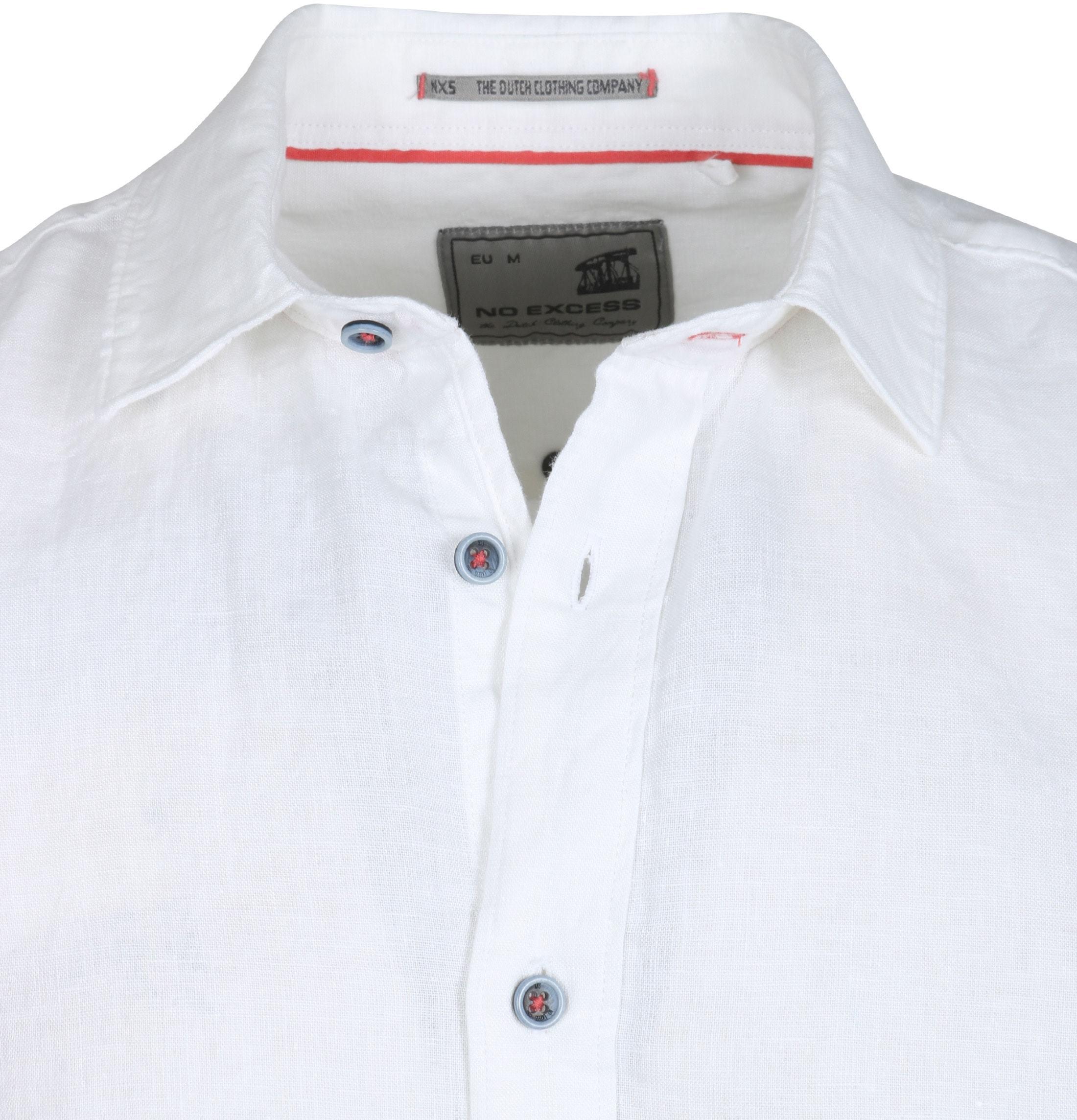 No-Excess Overhemd Linnen Korte Mouw Wit foto 1