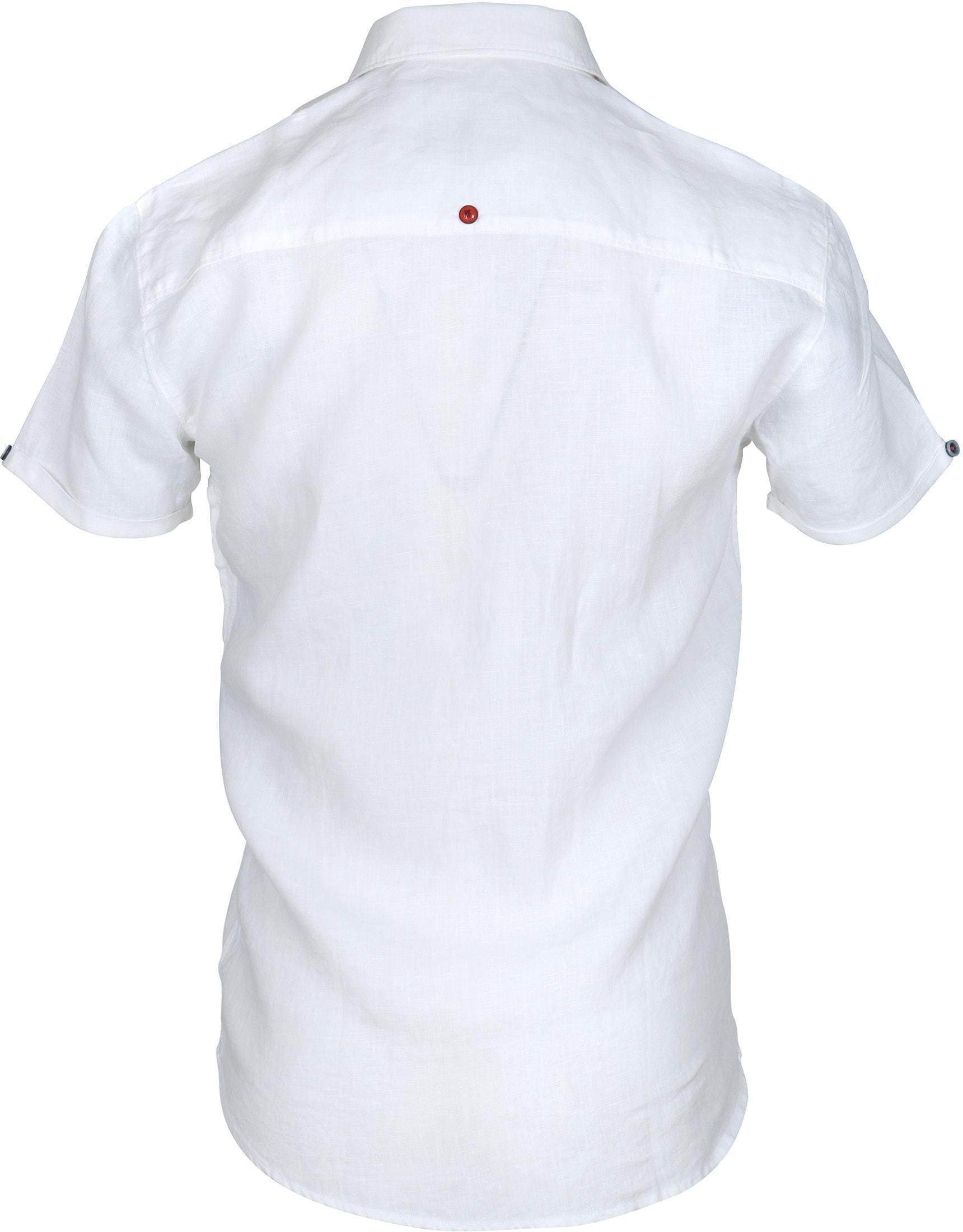 No-Excess Overhemd Linnen Korte Mouw Wit foto 3