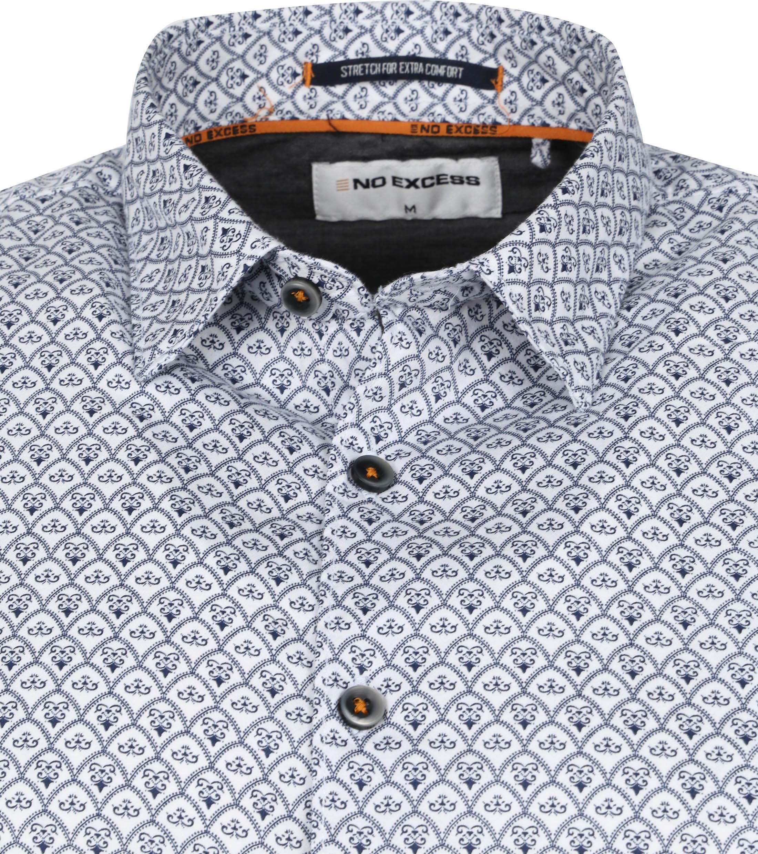 No-Excess Overhemd Vintage Print Blauw