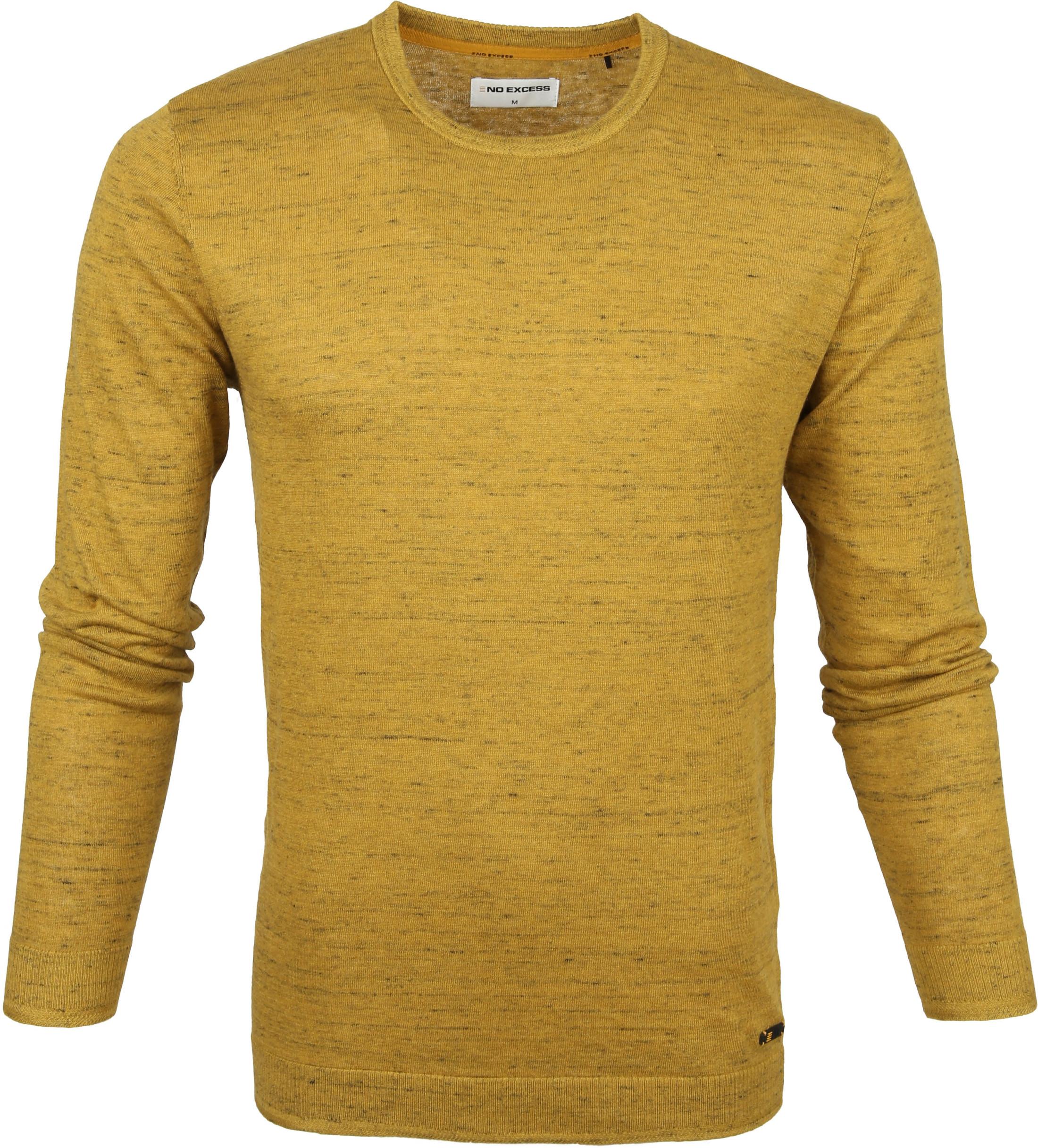 No-Excess Pullover Melange Zwart Geel - Goud maat 3XL