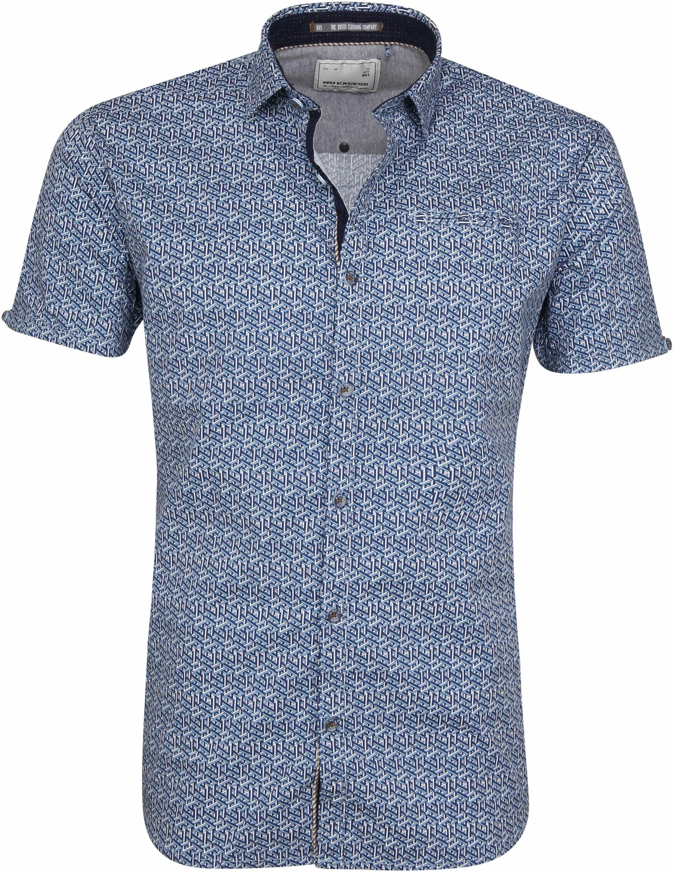 No-Excess SS Overhemd Blauw Print foto 0