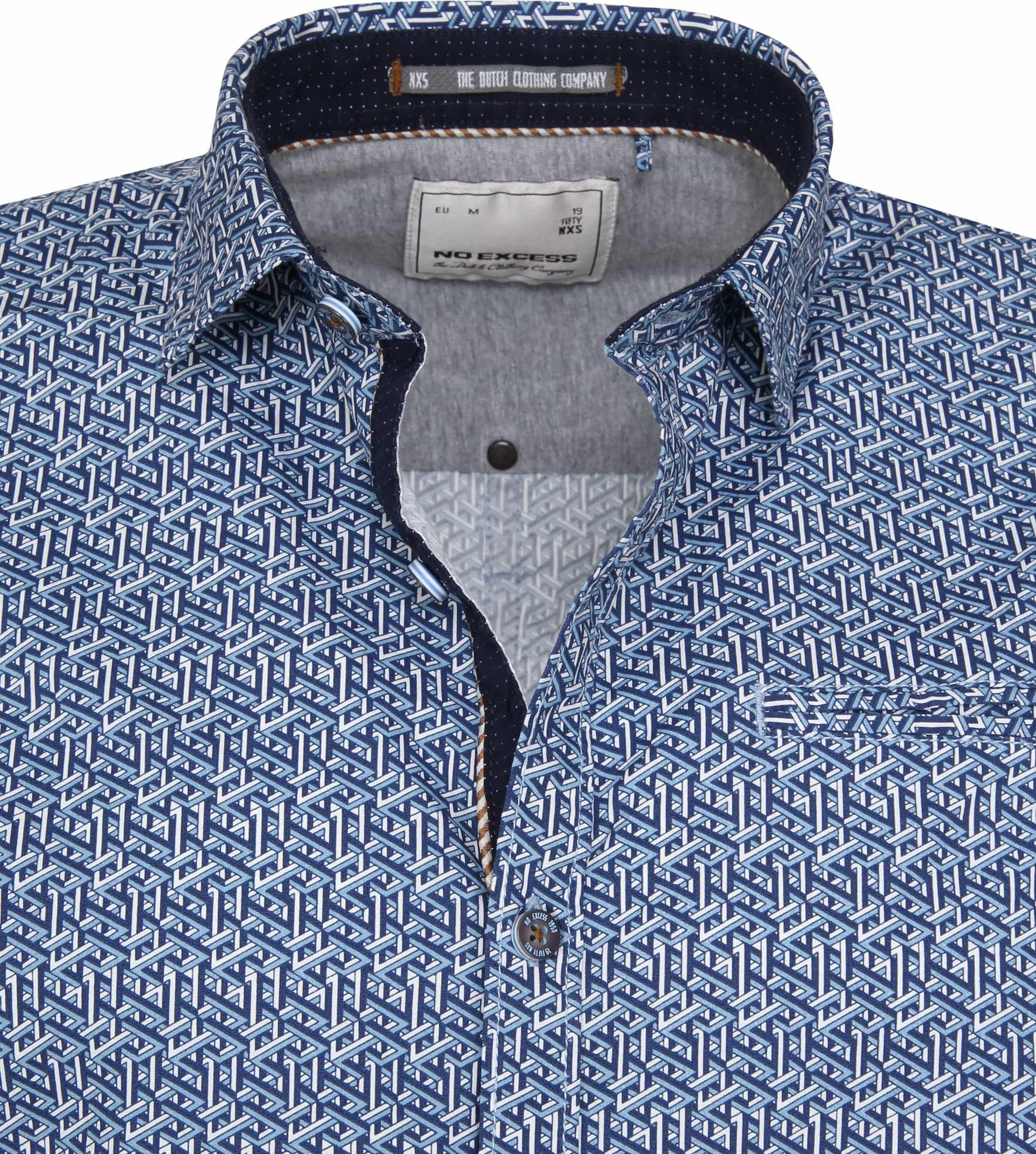 No-Excess SS Overhemd Blauw Print foto 1