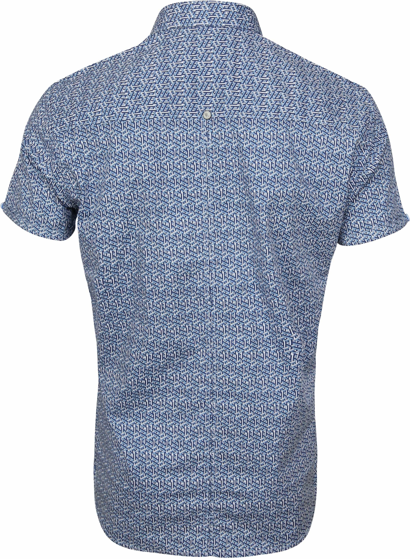 No-Excess SS Overhemd Blauw Print foto 3