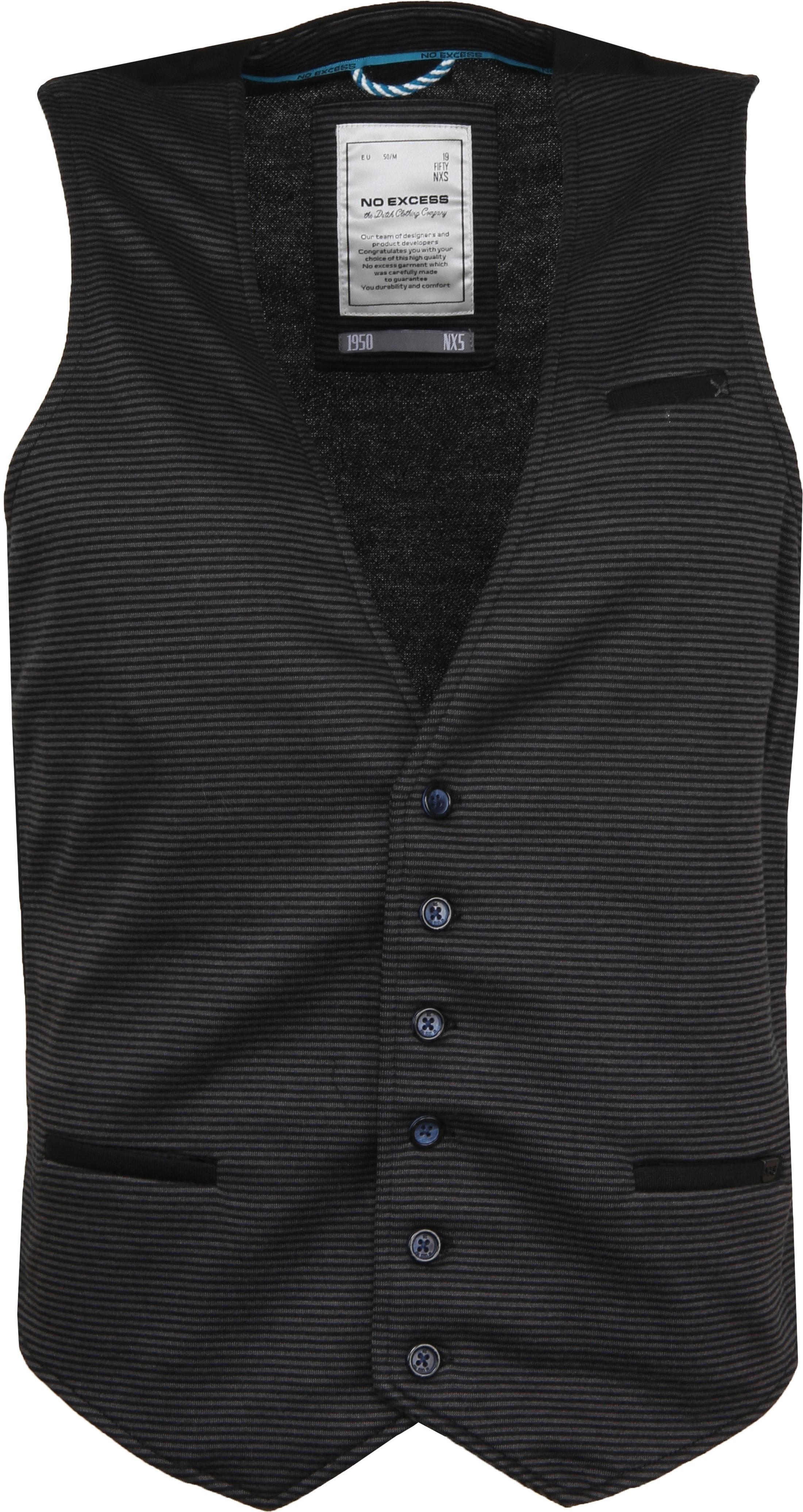 No-Excess Waistcoat Knitted Stripe Dark Grey foto 0