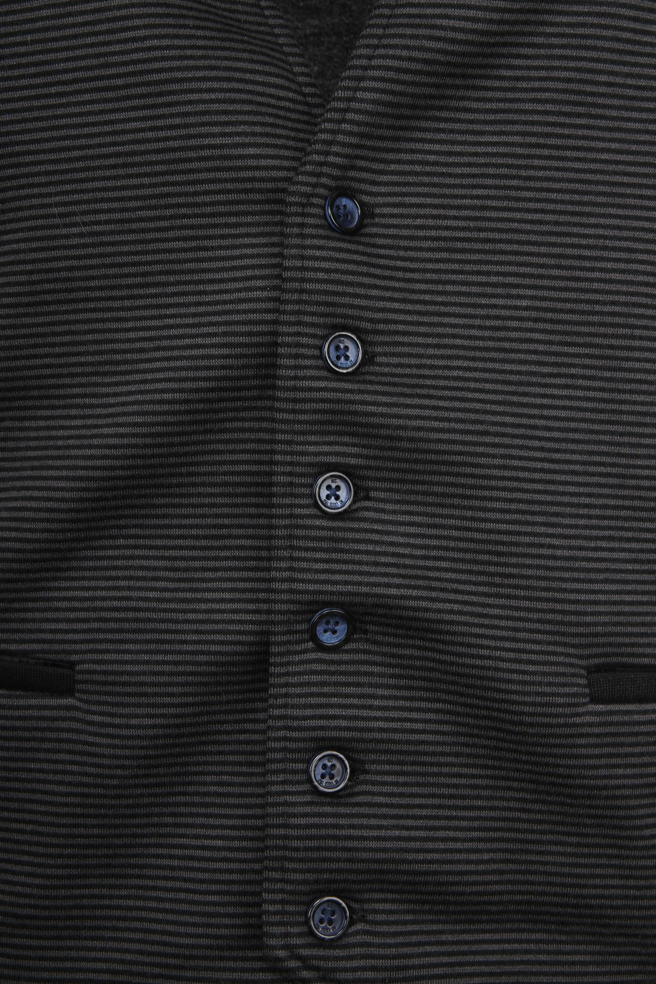 No-Excess Waistcoat Knitted Stripe Dark Grey foto 1