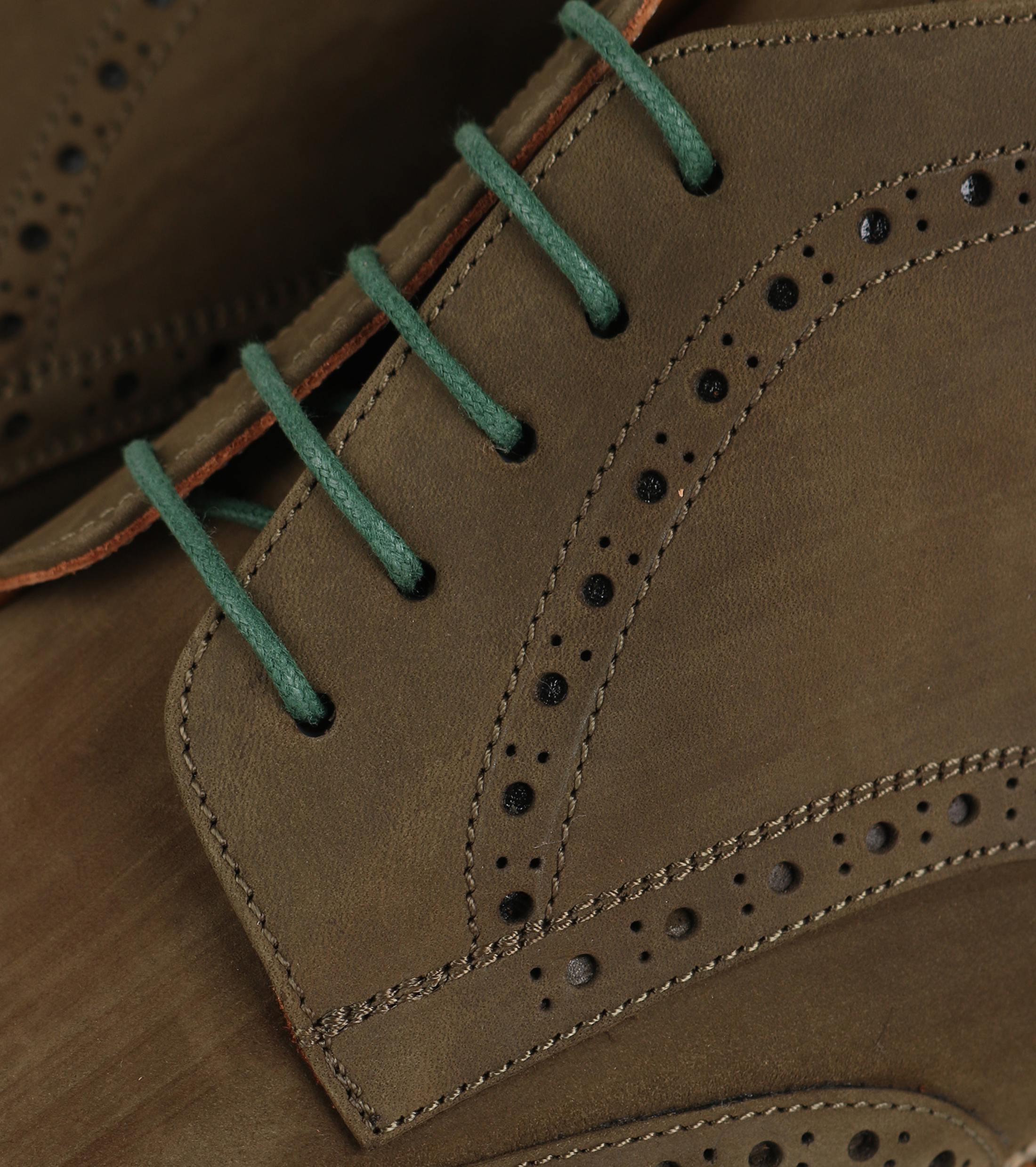 Nubuck Brogue Boots Groen foto 1